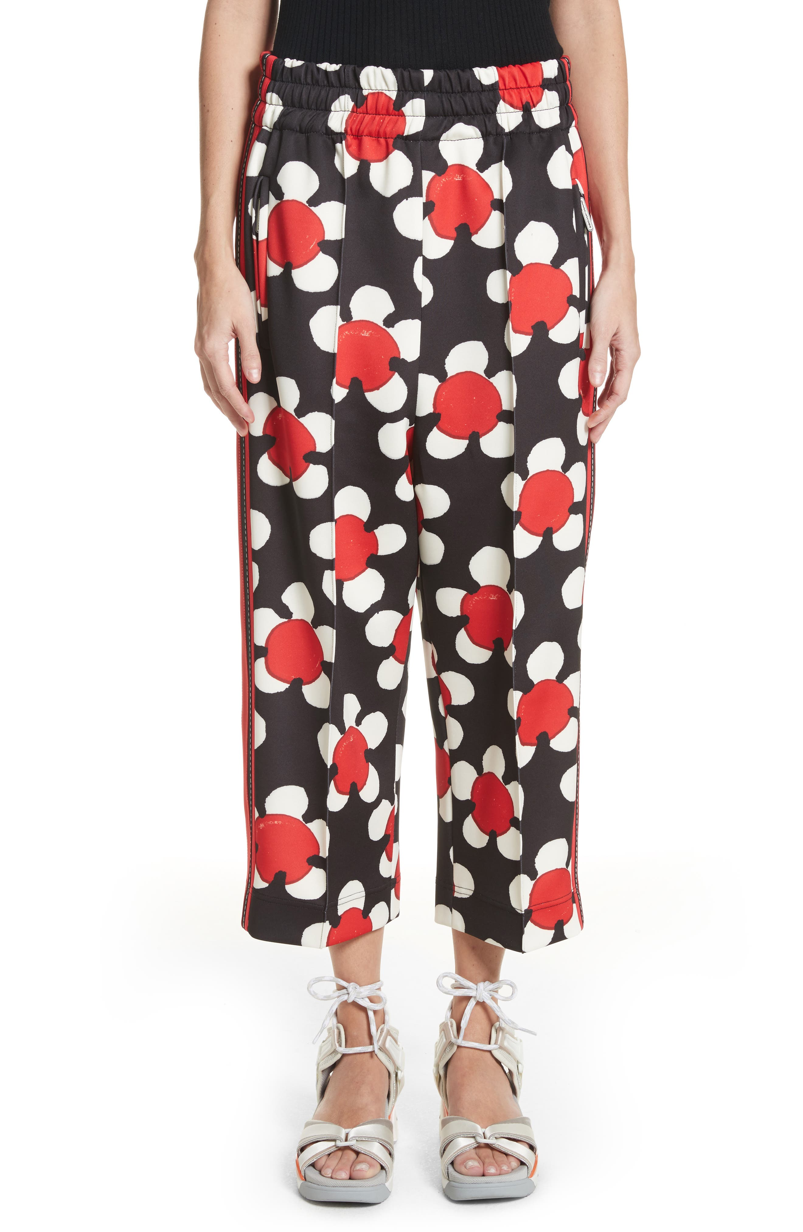Floral Print Crop Track Pants,                             Main thumbnail 1, color,                             Red Multi