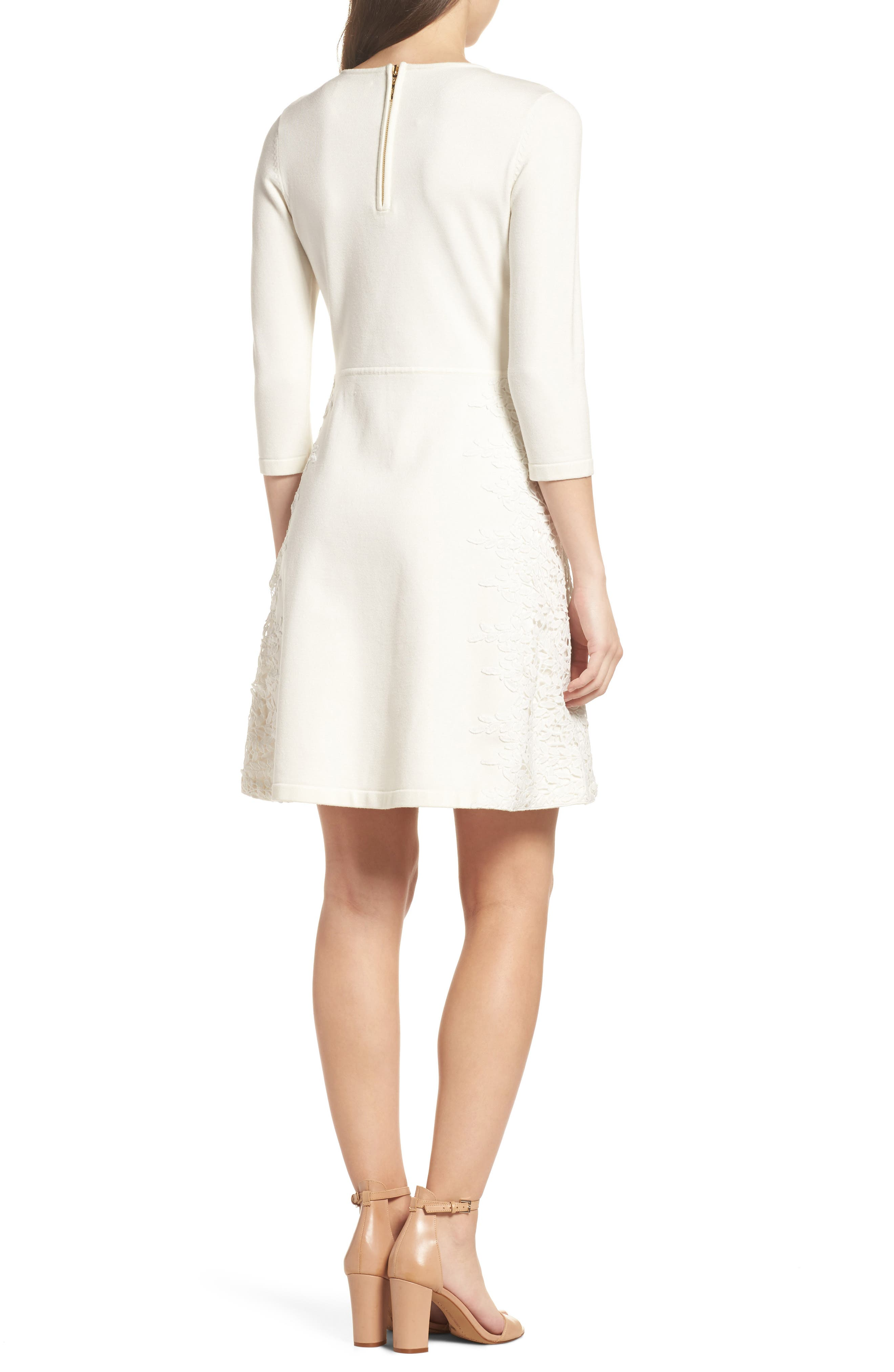 Lace Overlay Sweater Dress,                             Alternate thumbnail 2, color,                             Ivory