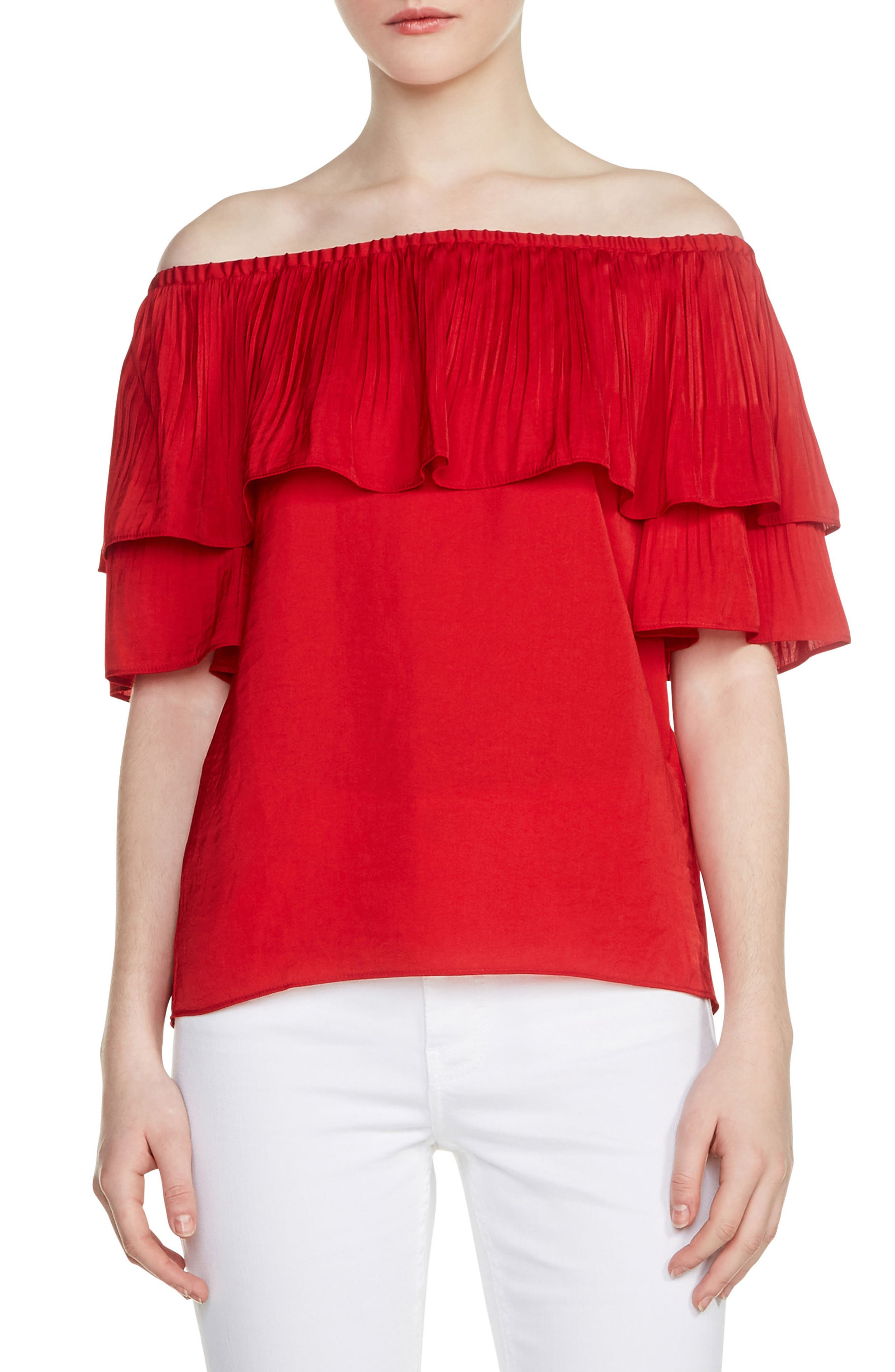 Locao Off the Shoulder Top,                         Main,                         color, Rouge