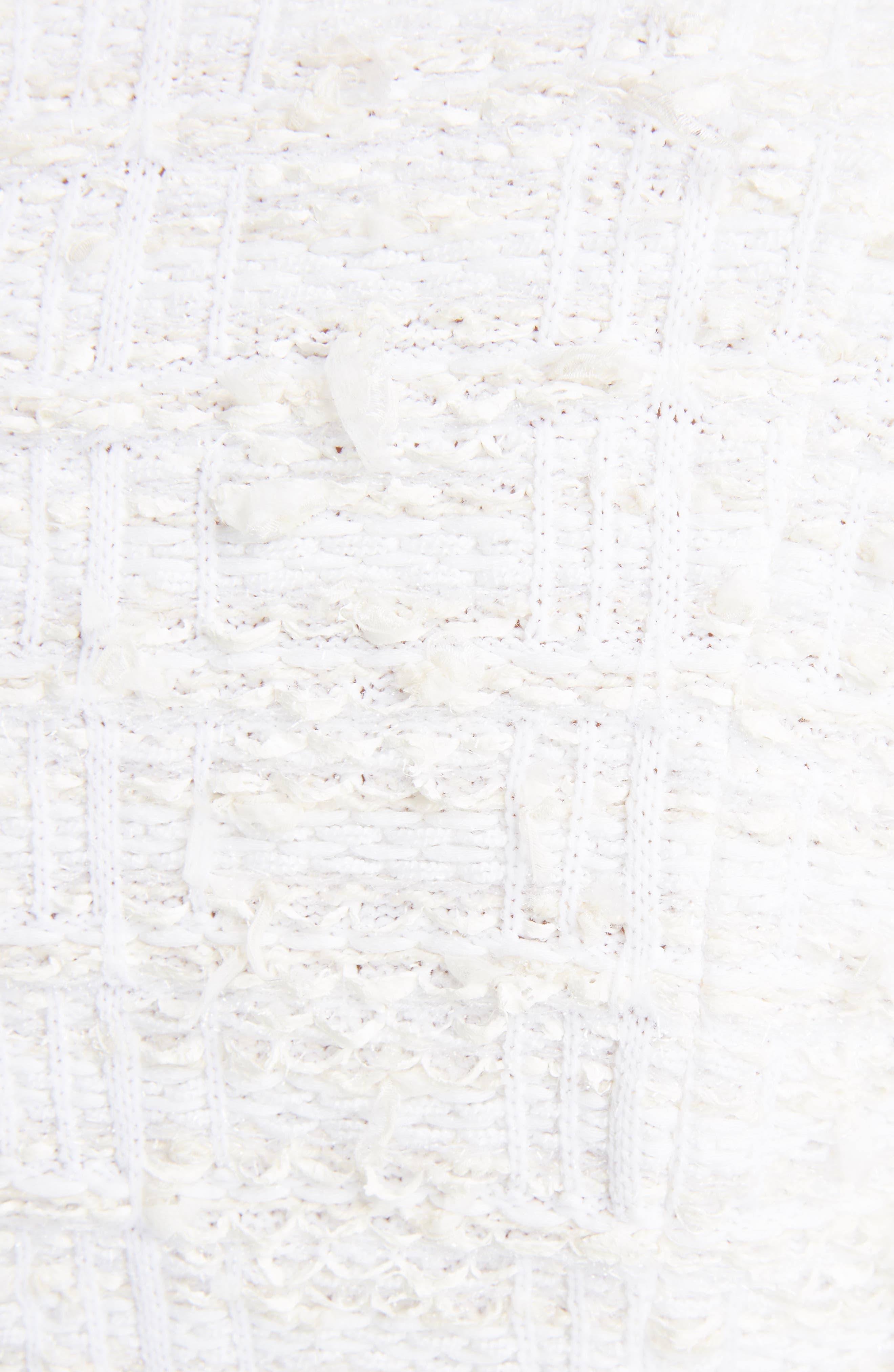 Fringe Tweed Dress,                             Alternate thumbnail 5, color,                             White