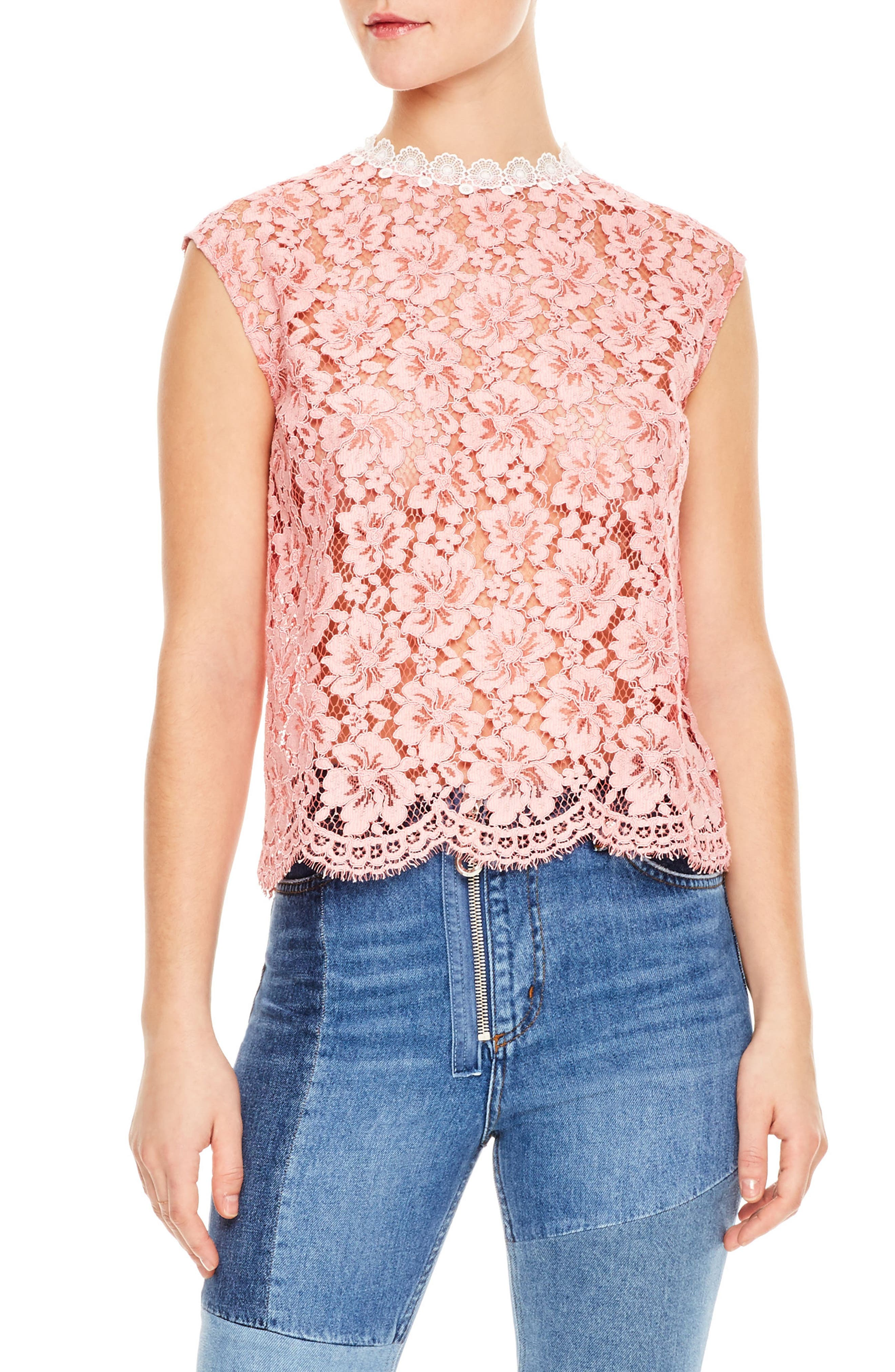 Rose Floral Lace Sleeveless Blouse,                         Main,                         color, Pink
