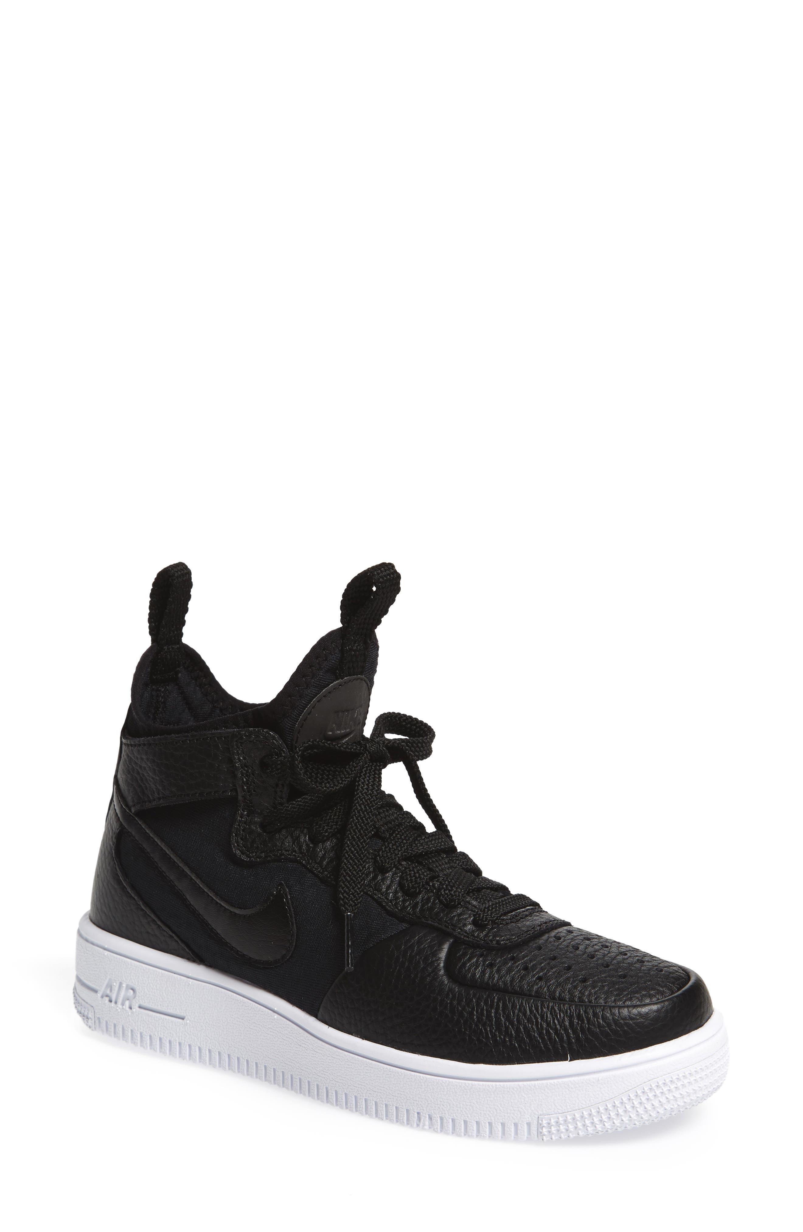 Air Force 1 Ultraforce Mid Sneaker,                             Main thumbnail 1, color,                             Black/ Black