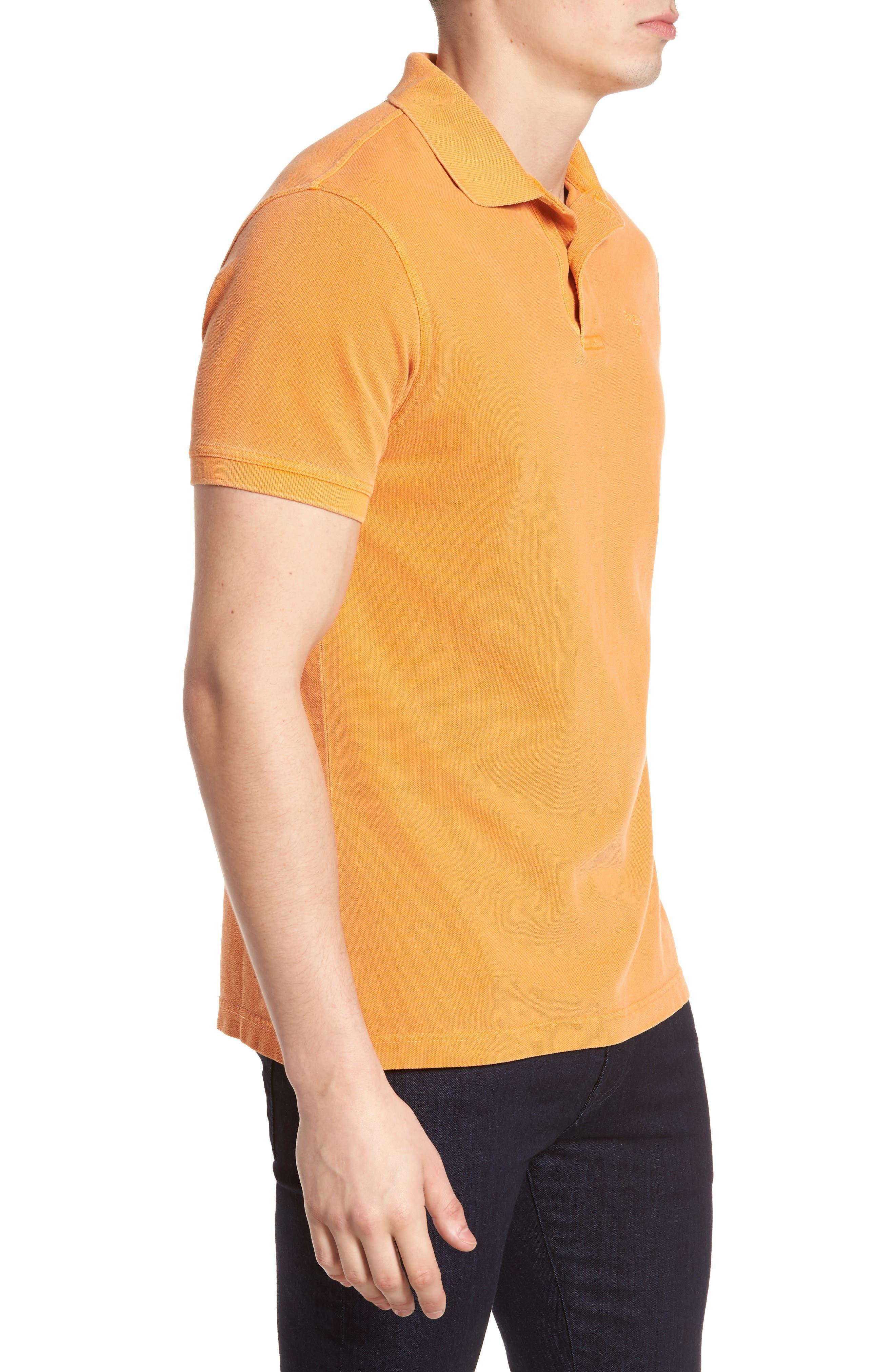 Washed Sports Polo Shirt,                             Alternate thumbnail 3, color,                             Acid Orange