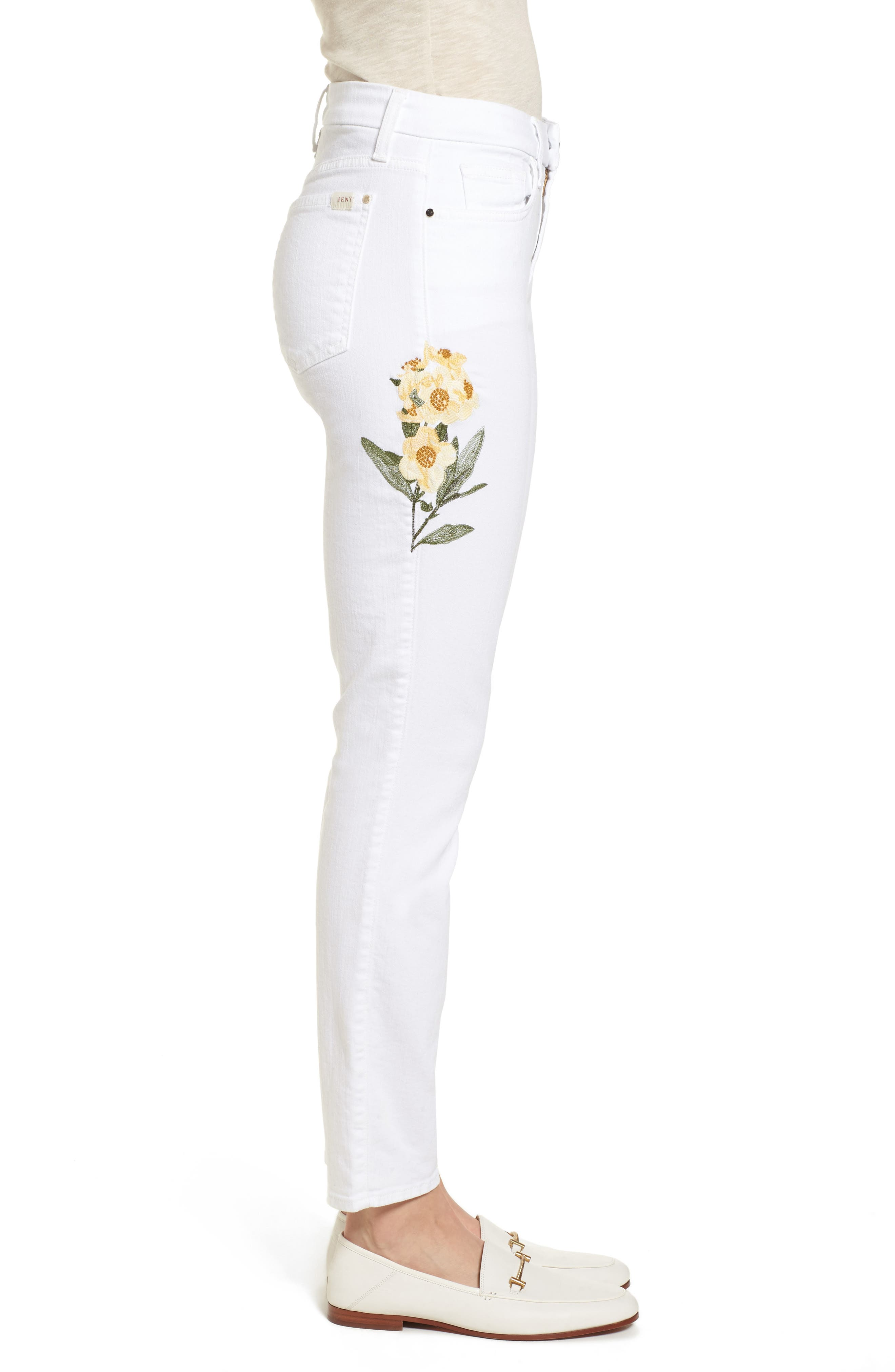 Embroidered Ankle Skinny Jeans,                             Alternate thumbnail 3, color,                             White M
