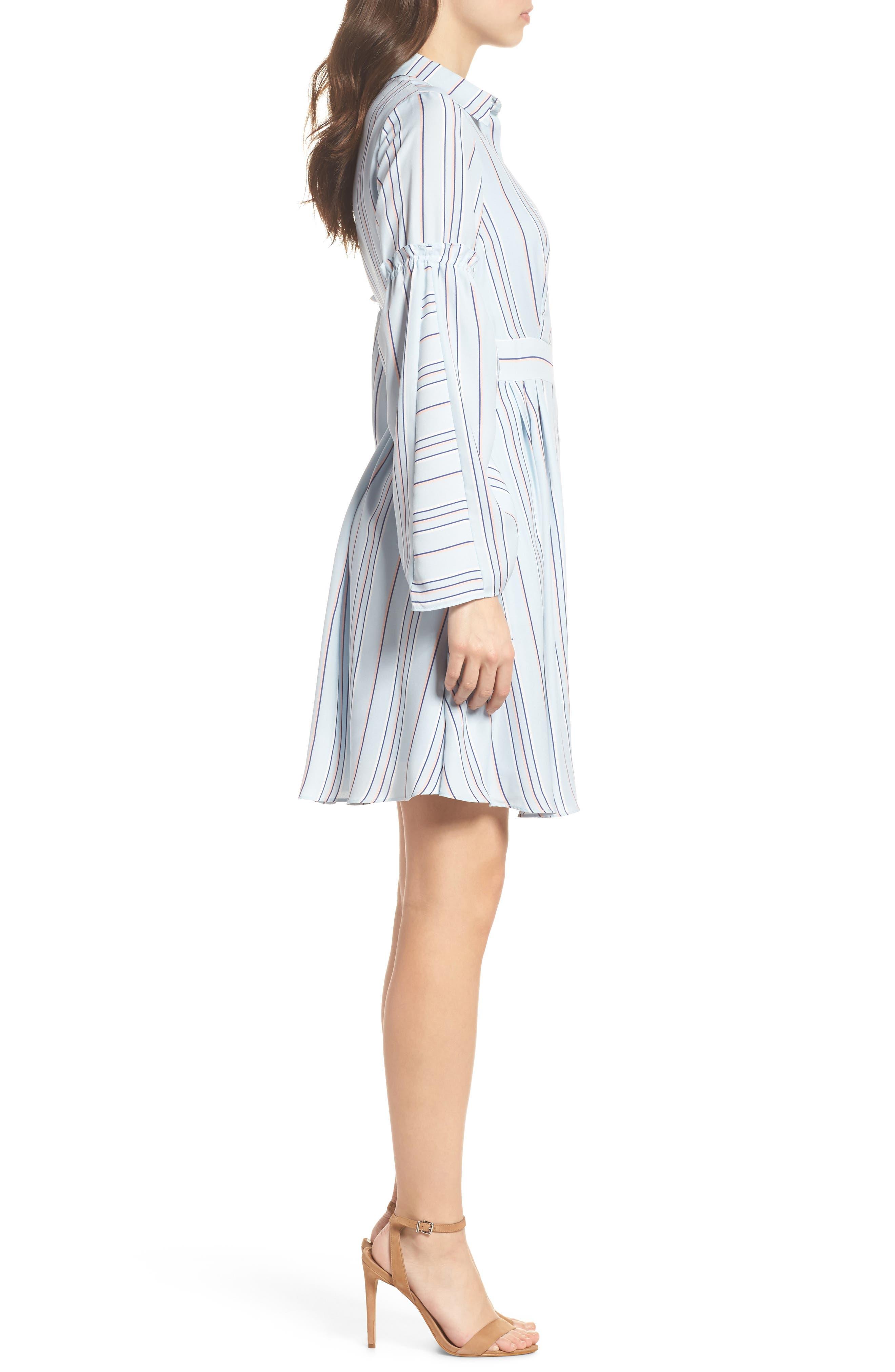 Stripe Shirtdress,                             Alternate thumbnail 3, color,                             Powder Blue Multi