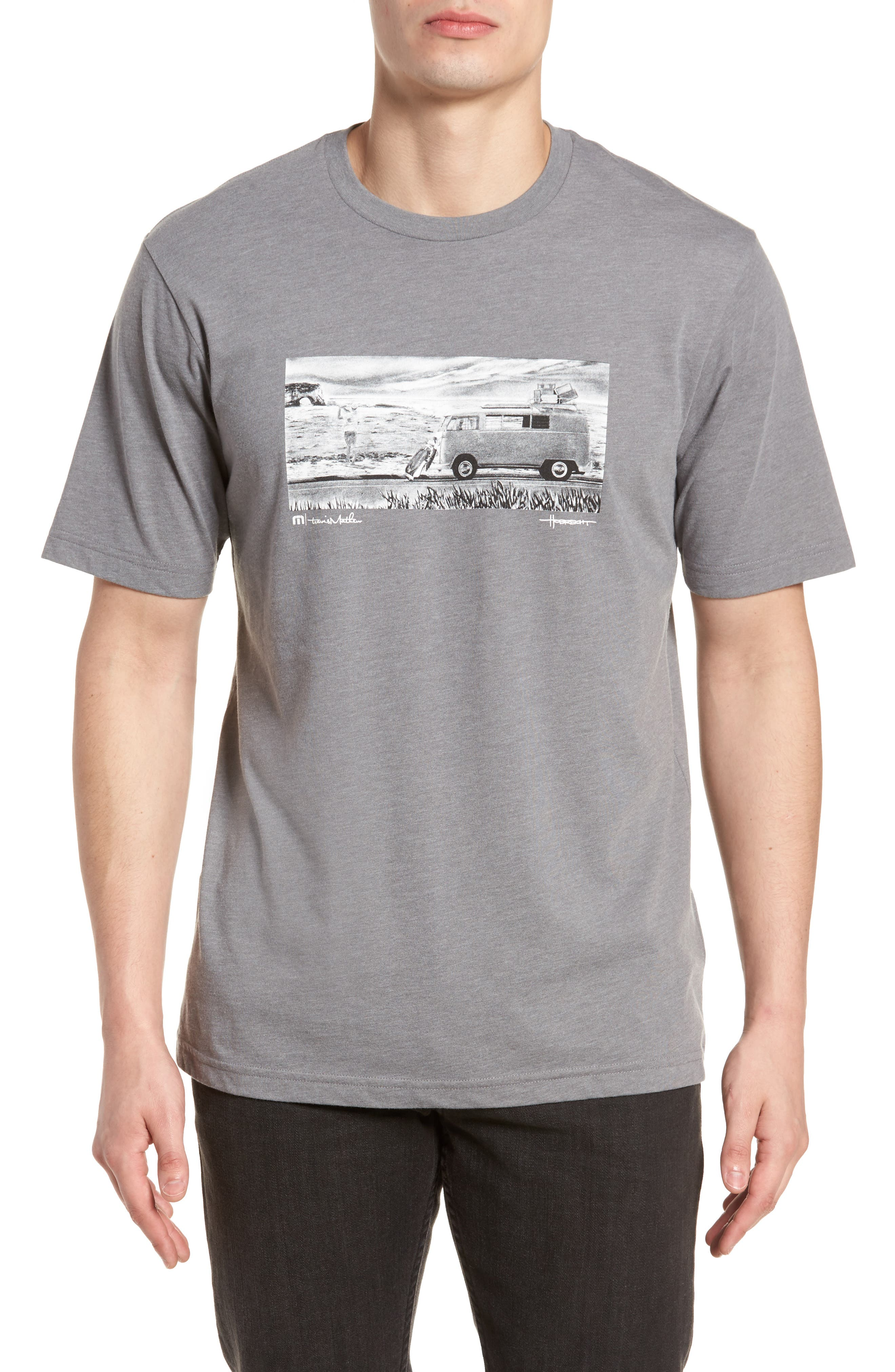 The Bus Stop Graphic T-Shirt,                             Main thumbnail 1, color,                             Heather Grey