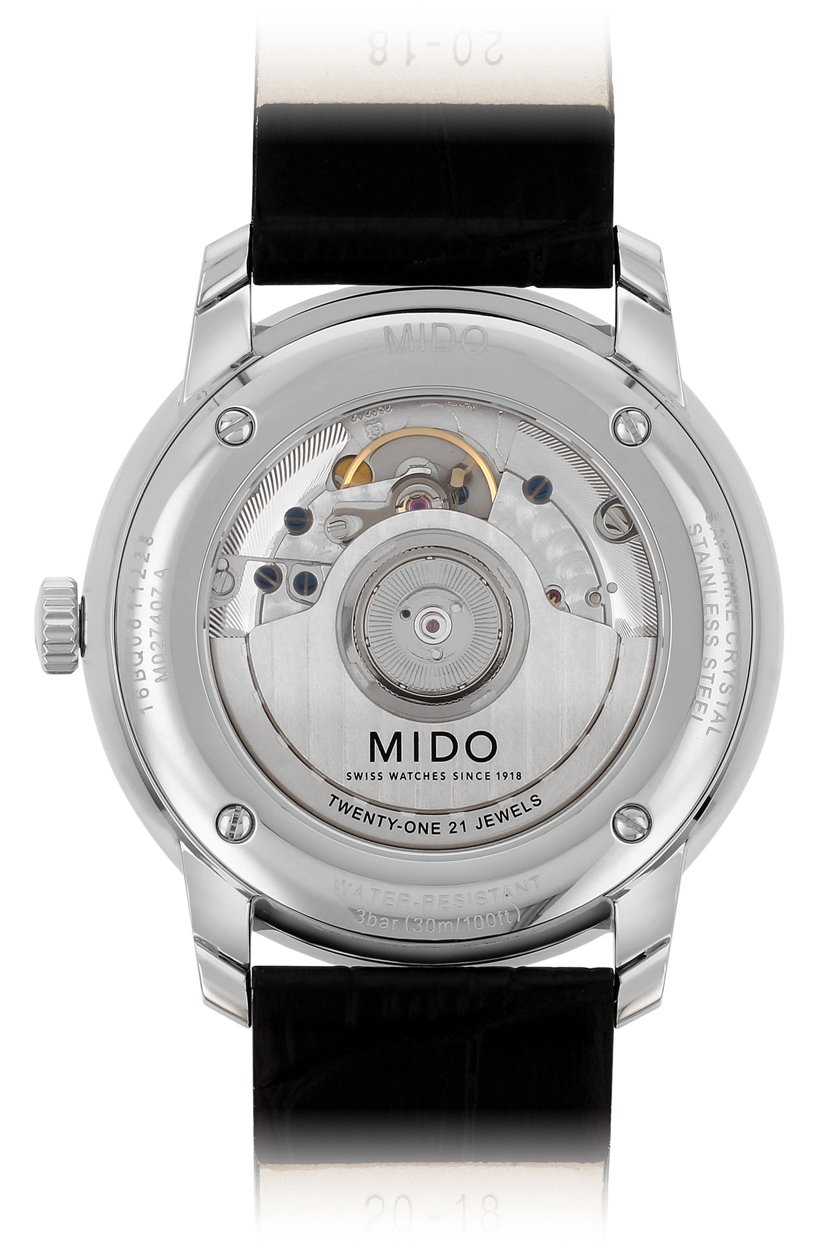 Alternate Image 2  - MIDO Baroncelli Heritage Automatic Leather Strap Watch, 39mm