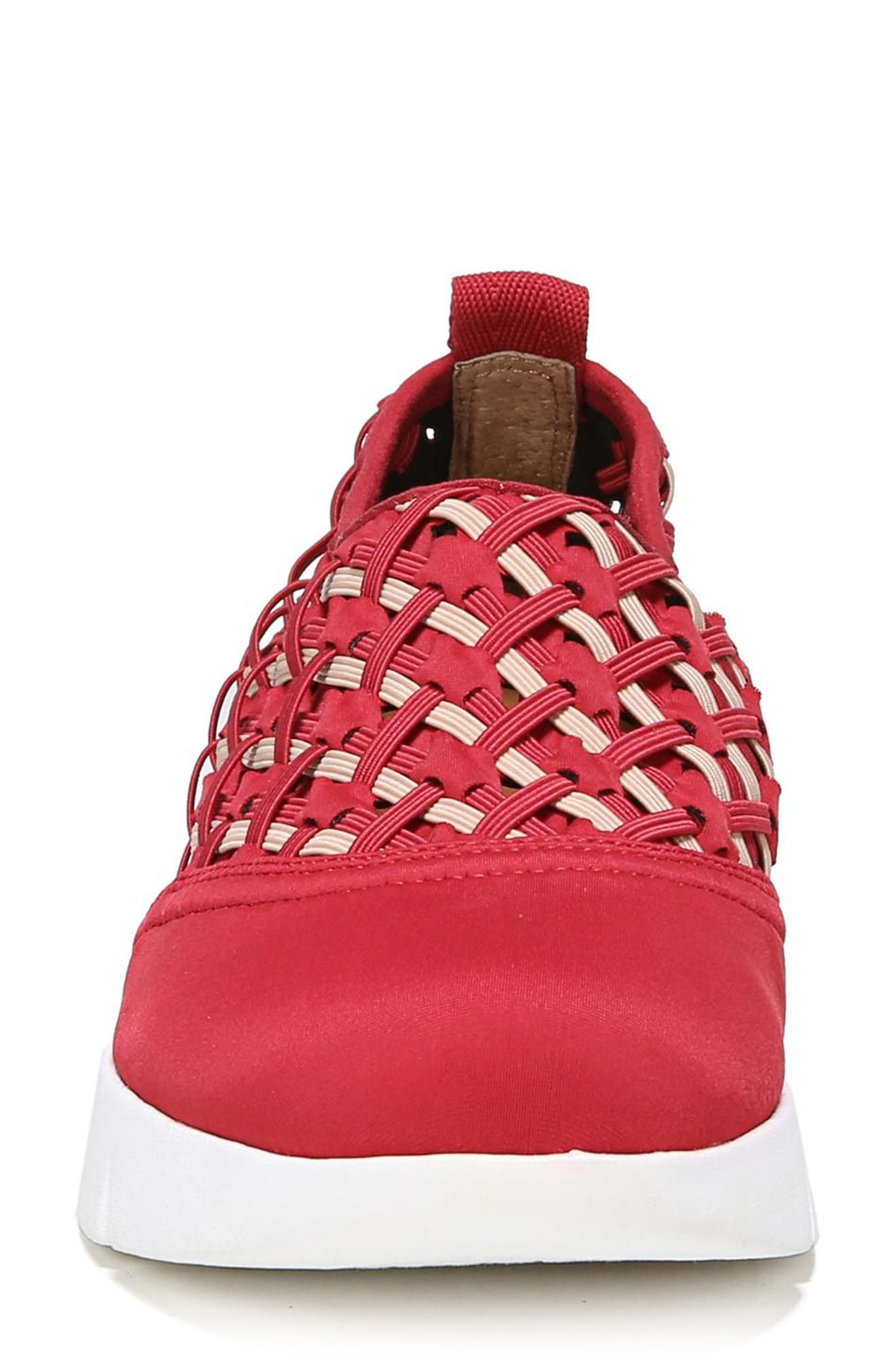 Fallan Woven Slip-On Sneaker,                             Alternate thumbnail 4, color,                             Deep Red Leather