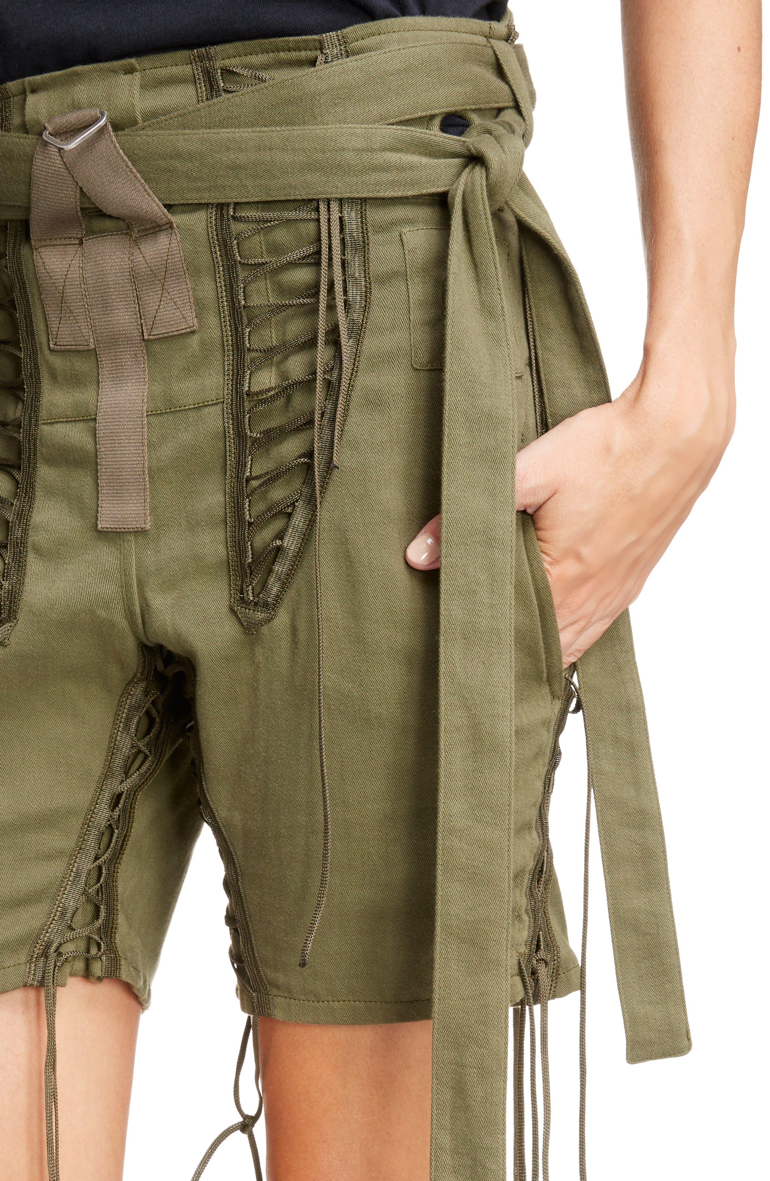 Laced Cotton & Linen Shorts,                             Alternate thumbnail 6, color,                             Kaki