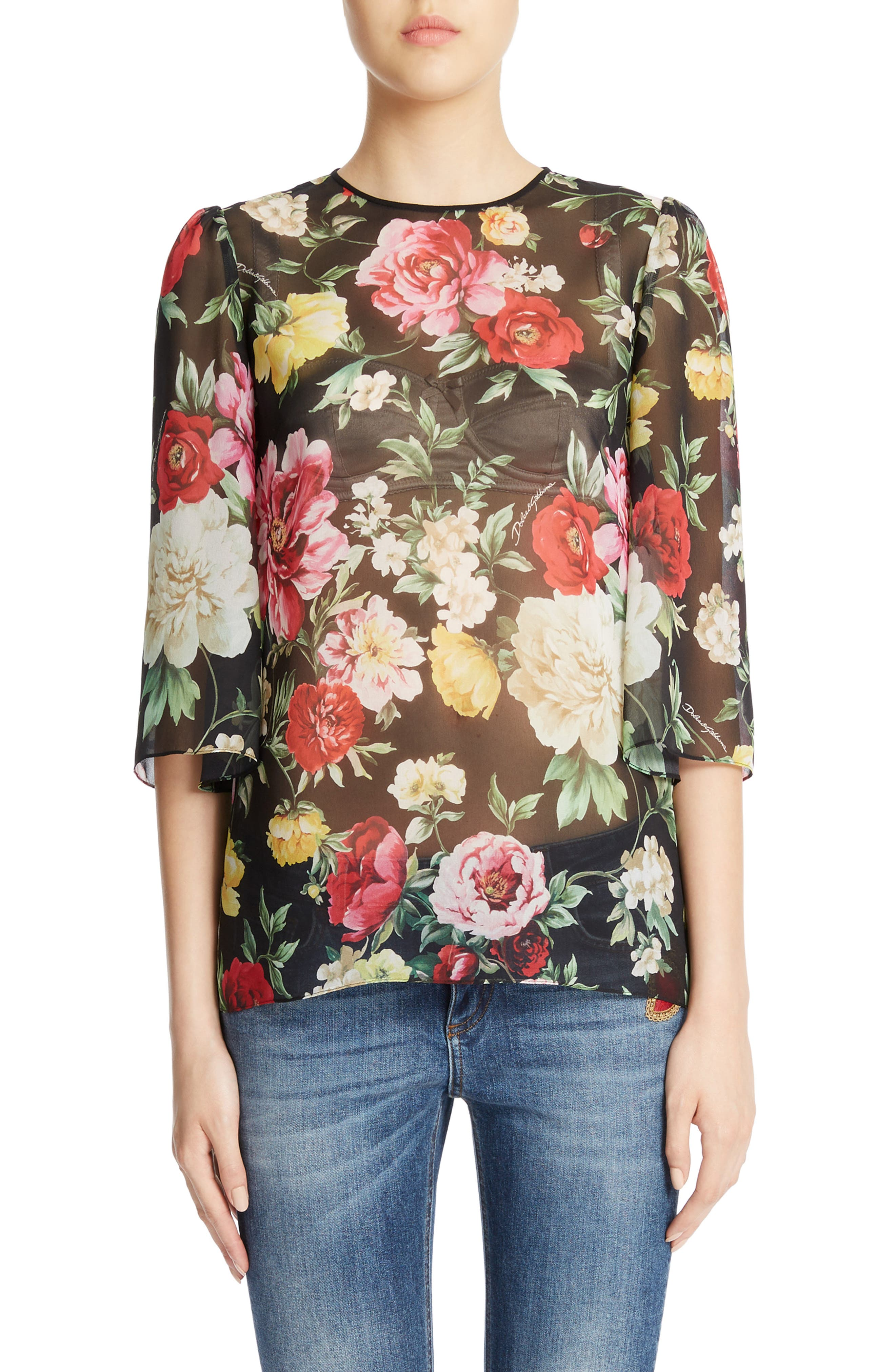Dolce&Gabbana Sheer Floral Print Cady Top