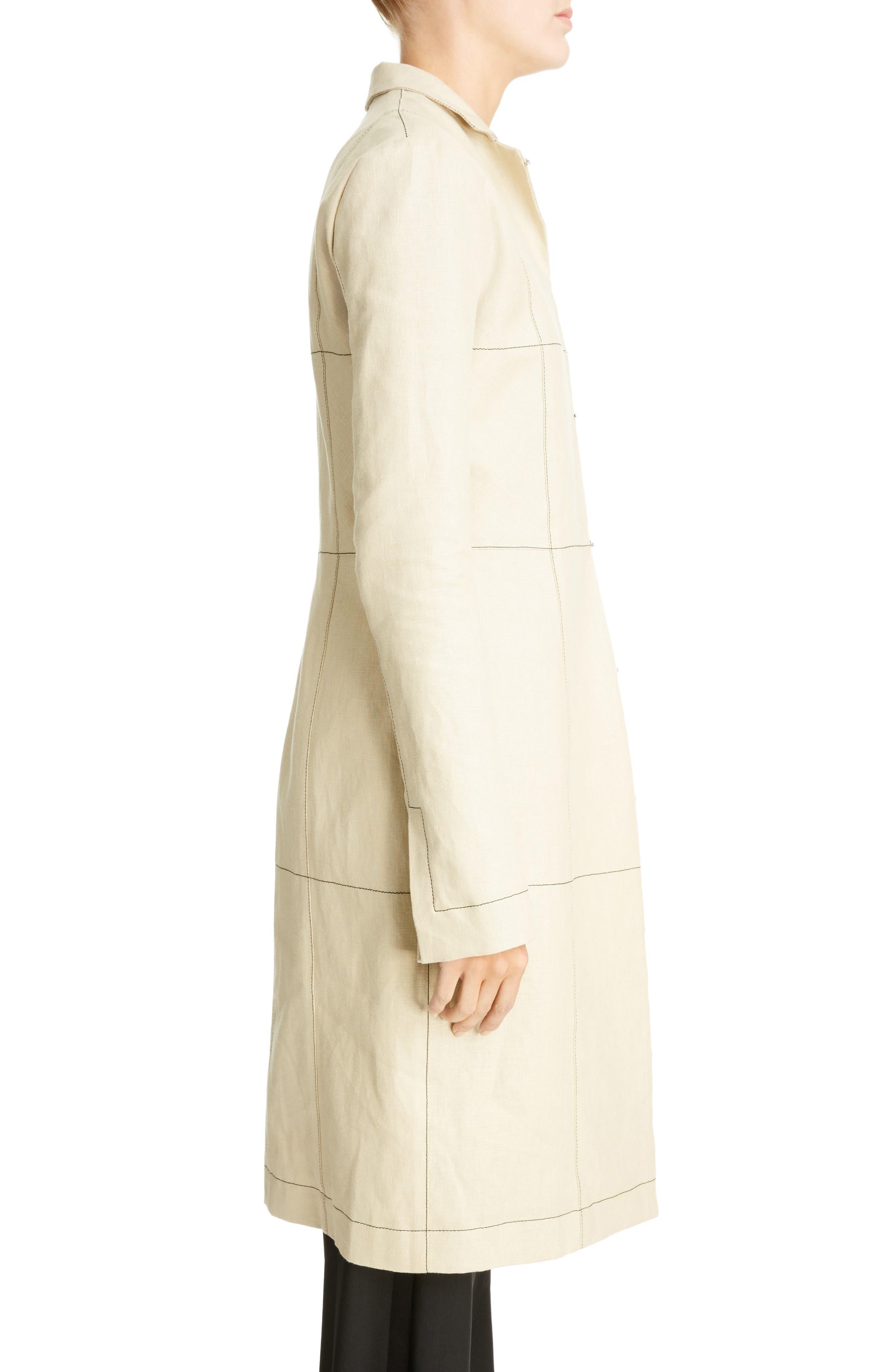 Topstitched Linen Coat,                             Alternate thumbnail 3, color,                             Beige
