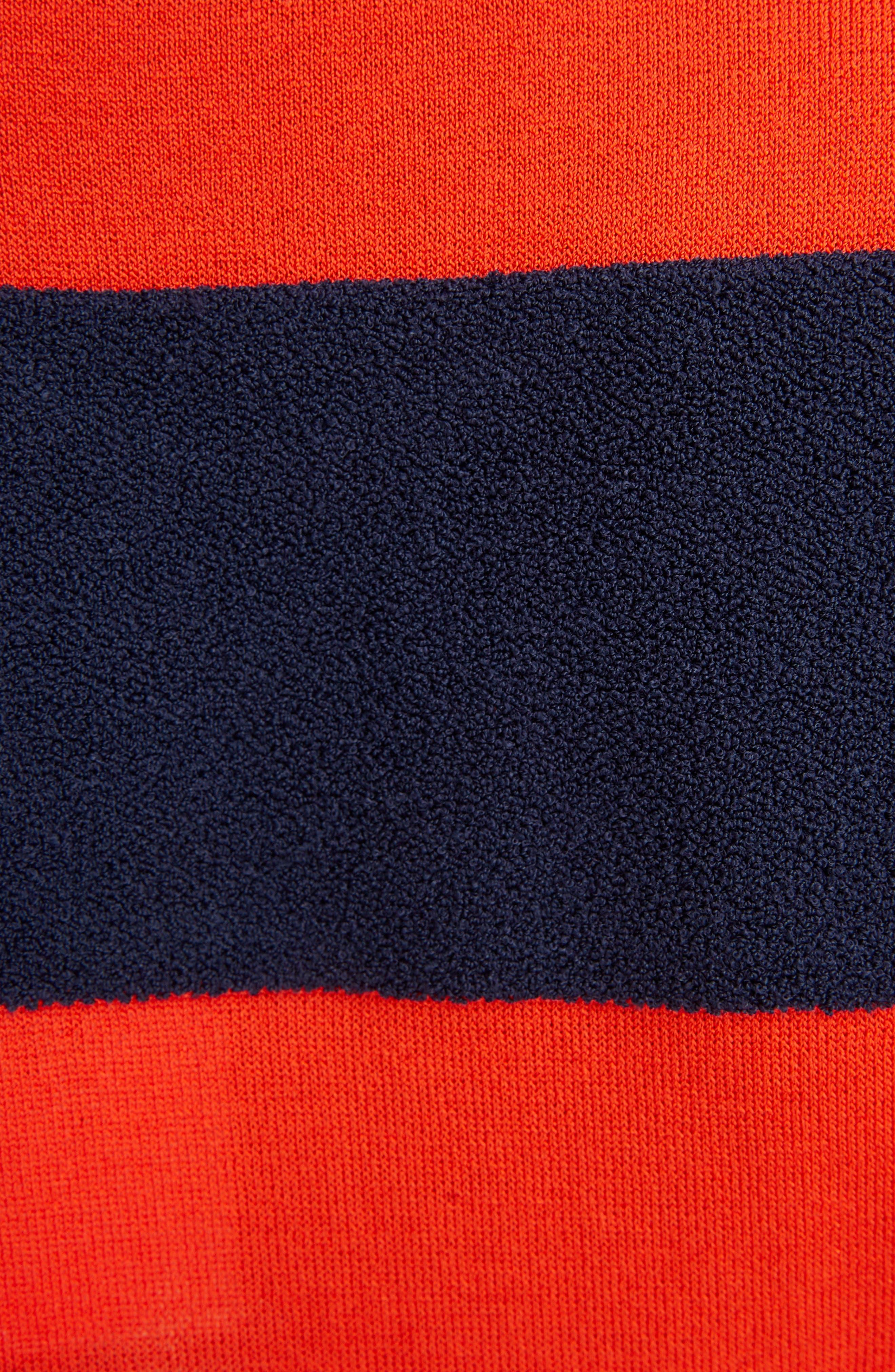 Tassel Detail Rugby Stripe Top,                             Alternate thumbnail 5, color,                             Marine/ Rouge