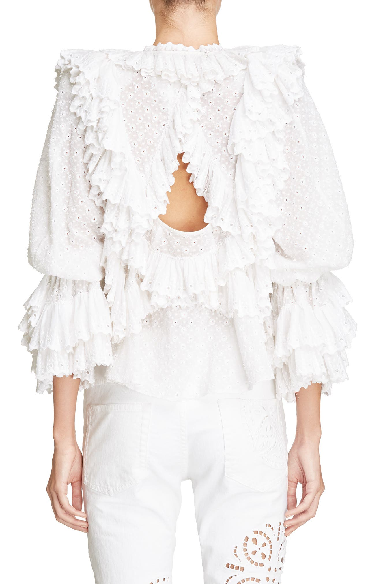 Ruffle Detail Broderie Anglaise Top,                             Alternate thumbnail 2, color,                             White