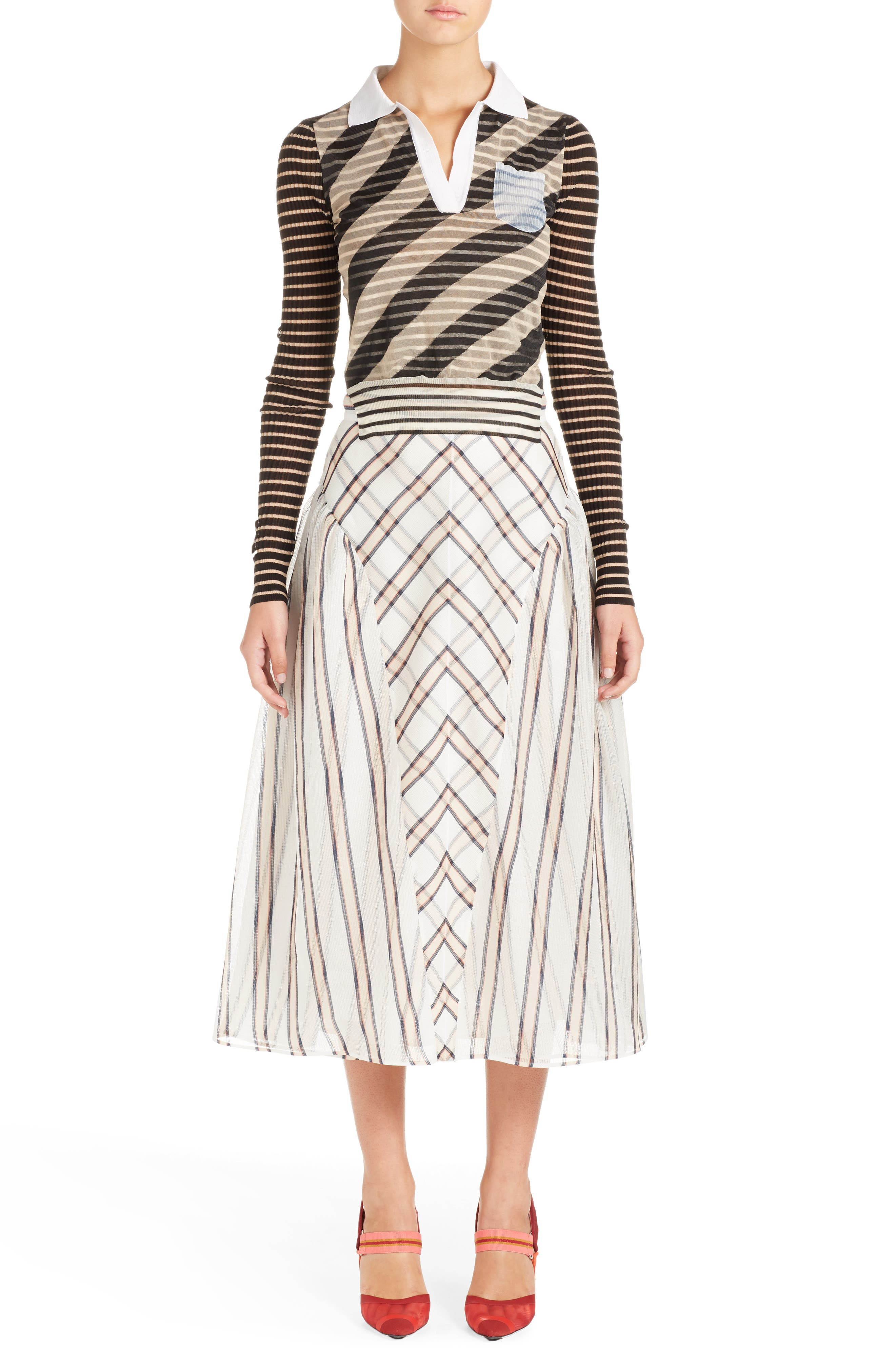 Mixed Stripe Top,                             Alternate thumbnail 4, color,                             Nude/ Black