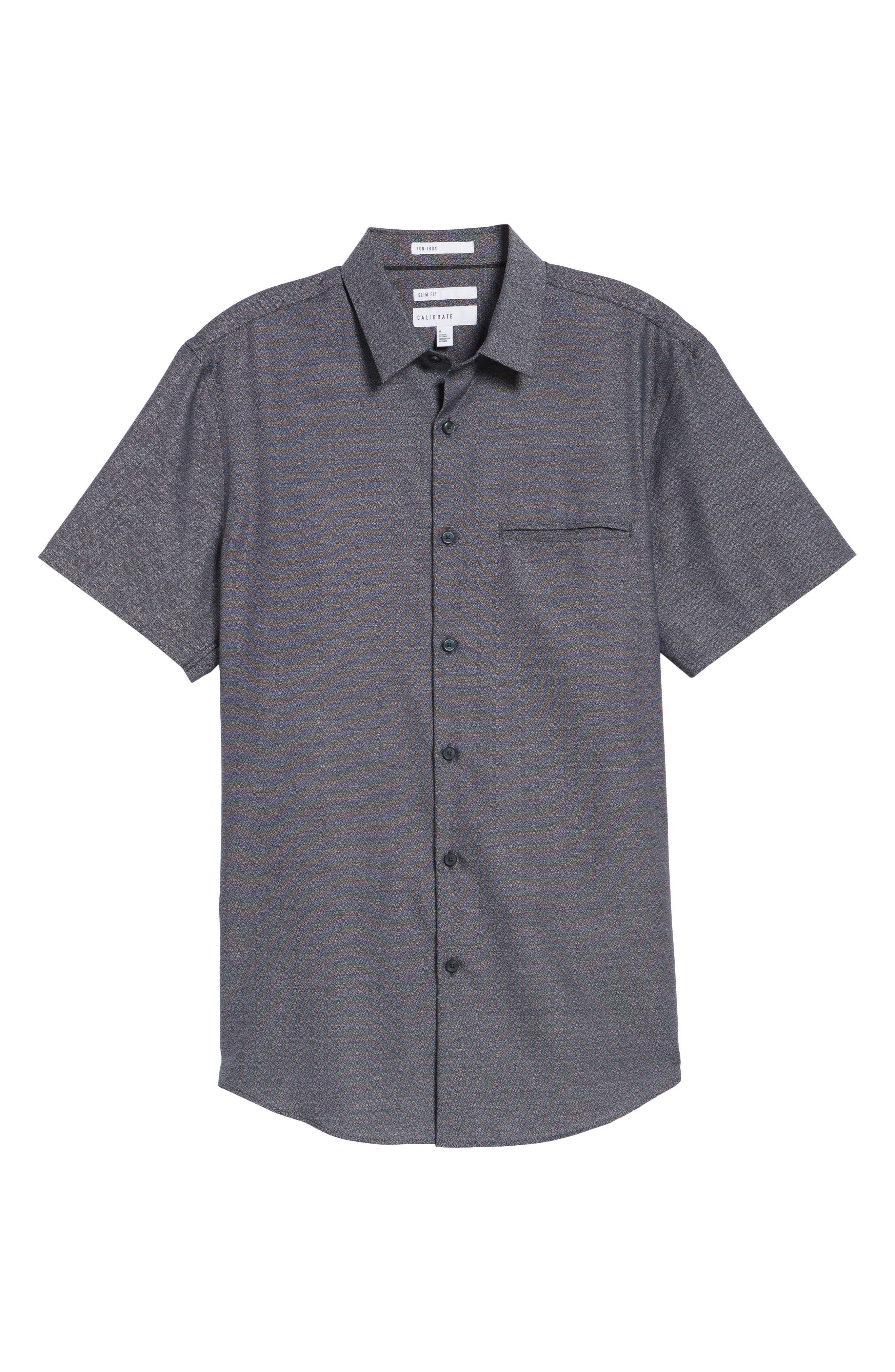 Trim Fit Jaspé Short Sleeve Sport Shirt,                             Alternate thumbnail 6, color,                             Navy Night Jacquard