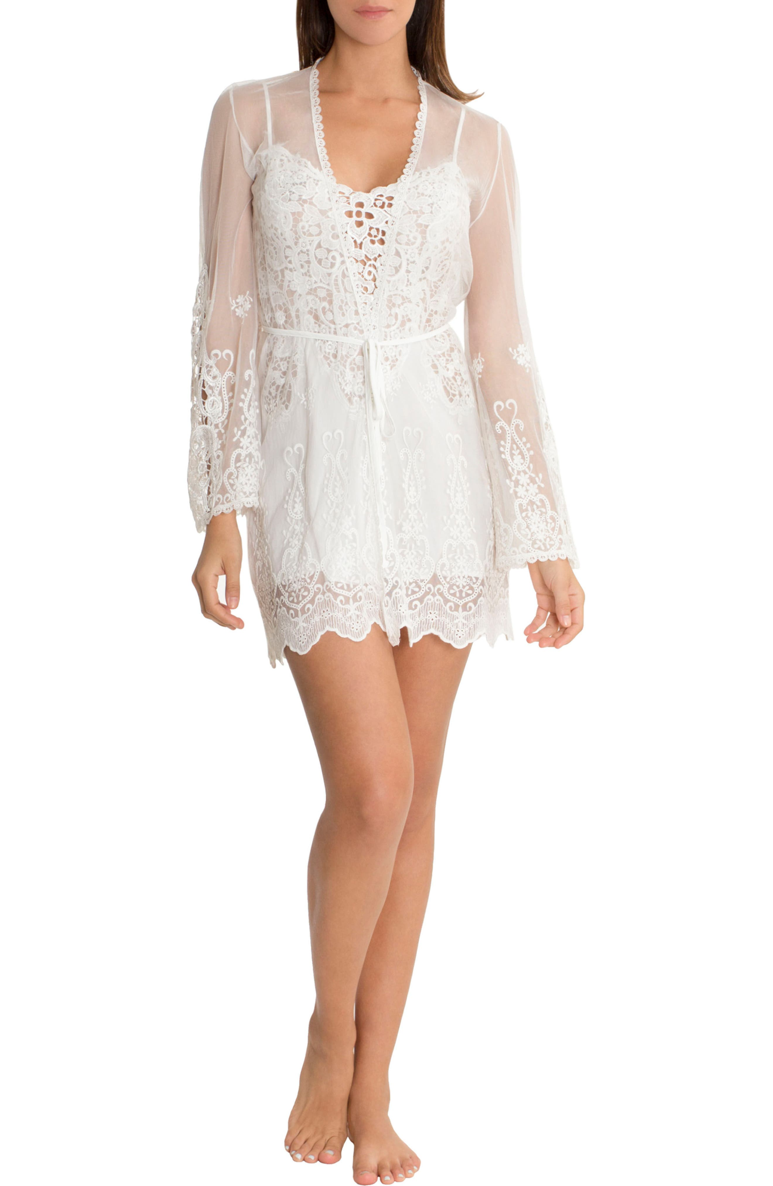 Embroidered Mesh Wrap,                             Alternate thumbnail 4, color,                             Ivory