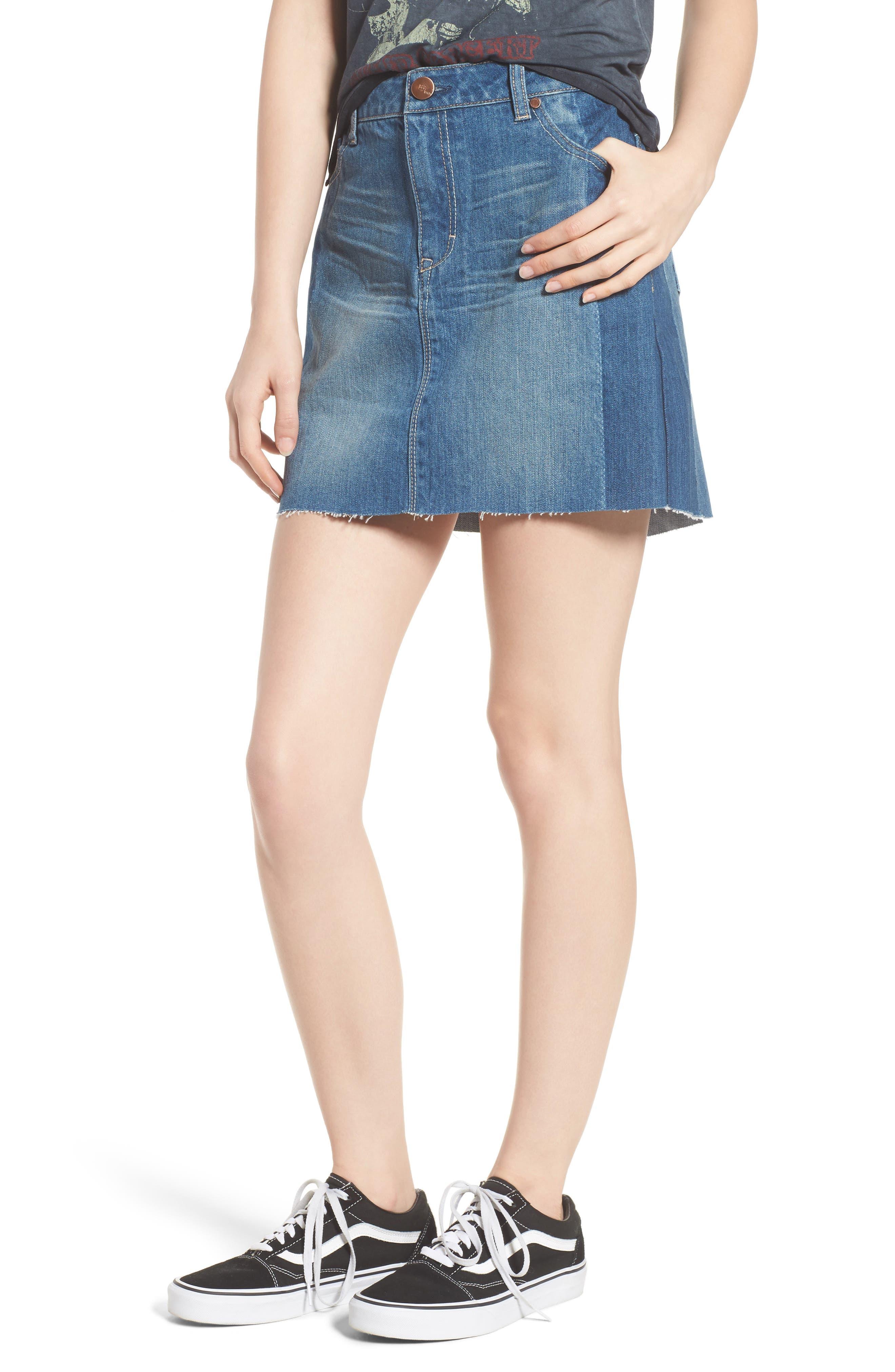 Two Tone Denim Skirt,                             Main thumbnail 1, color,                             Lexington