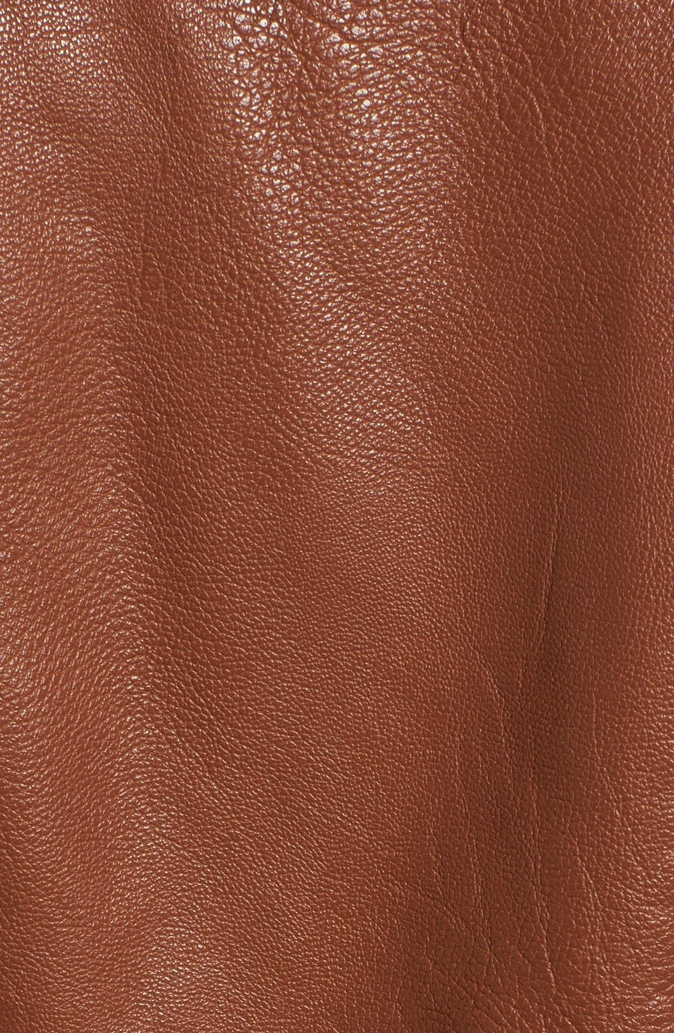 Side Lace Faux Leather Jacket,                             Alternate thumbnail 6, color,                             Cognac