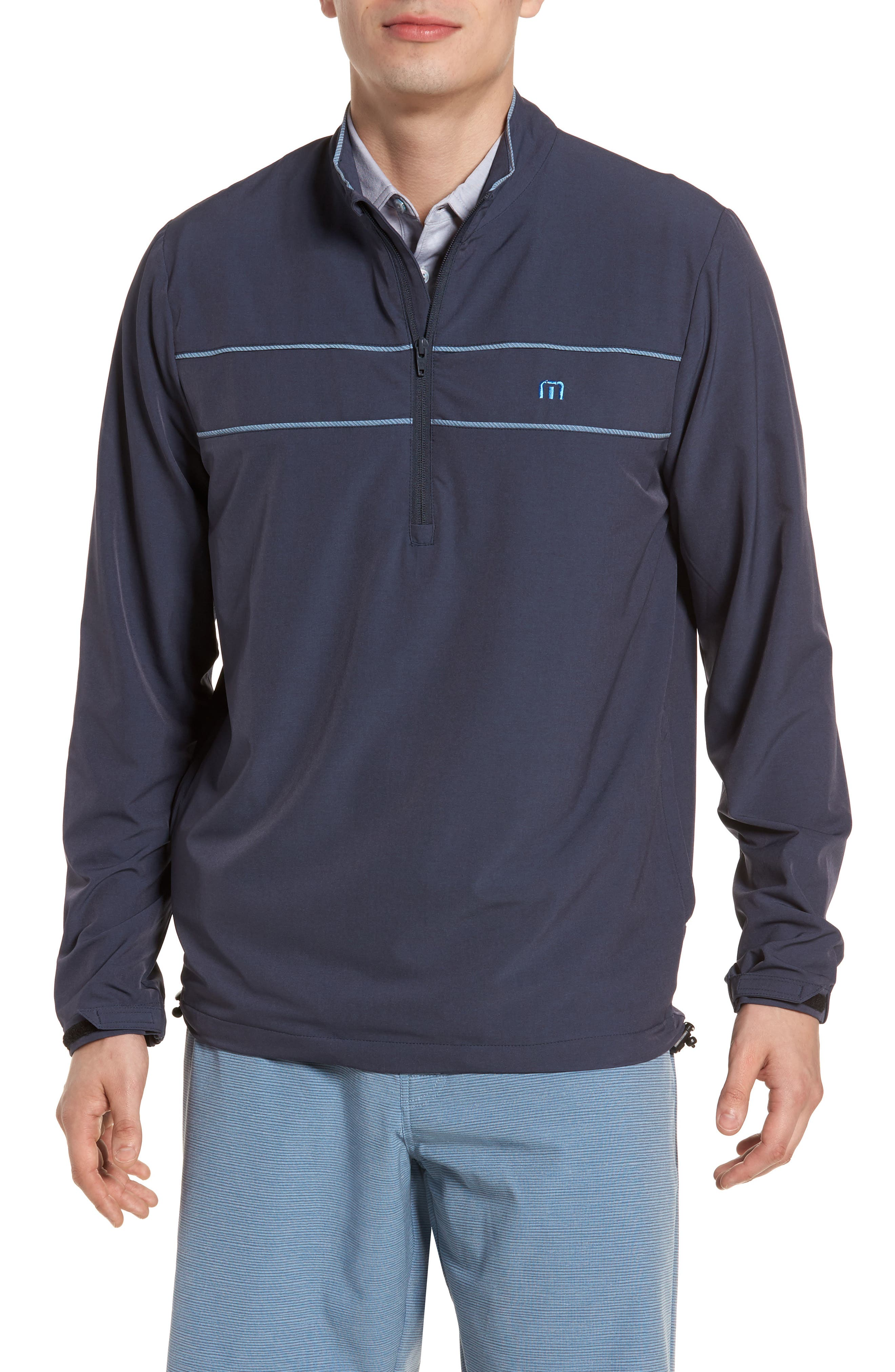 Leon Half Zip Pullover,                         Main,                         color, Blue Nights/ French Blue
