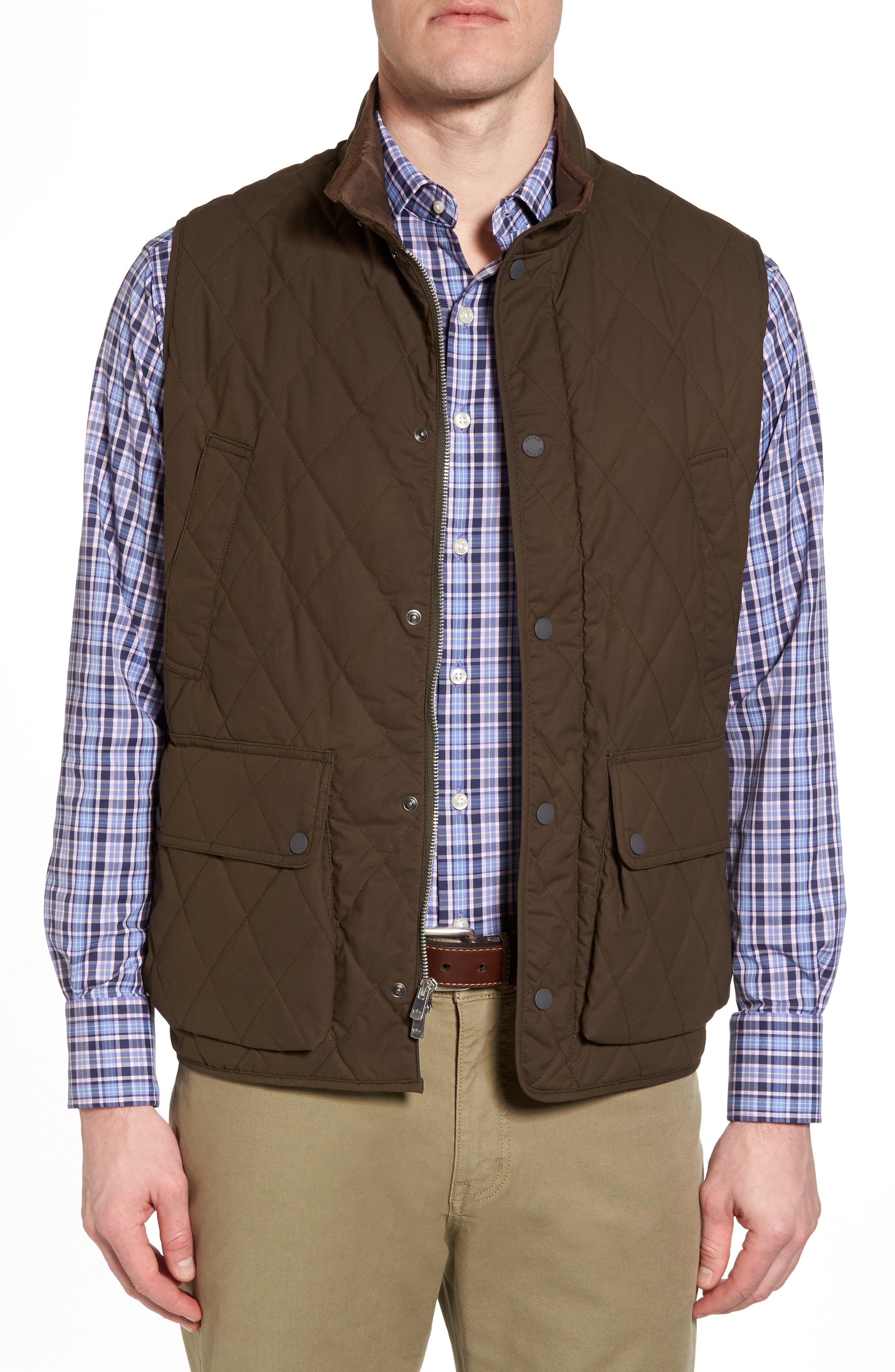 Keswick Waxed Cotton Quilted Vest,                             Main thumbnail 1, color,                             Dark Military