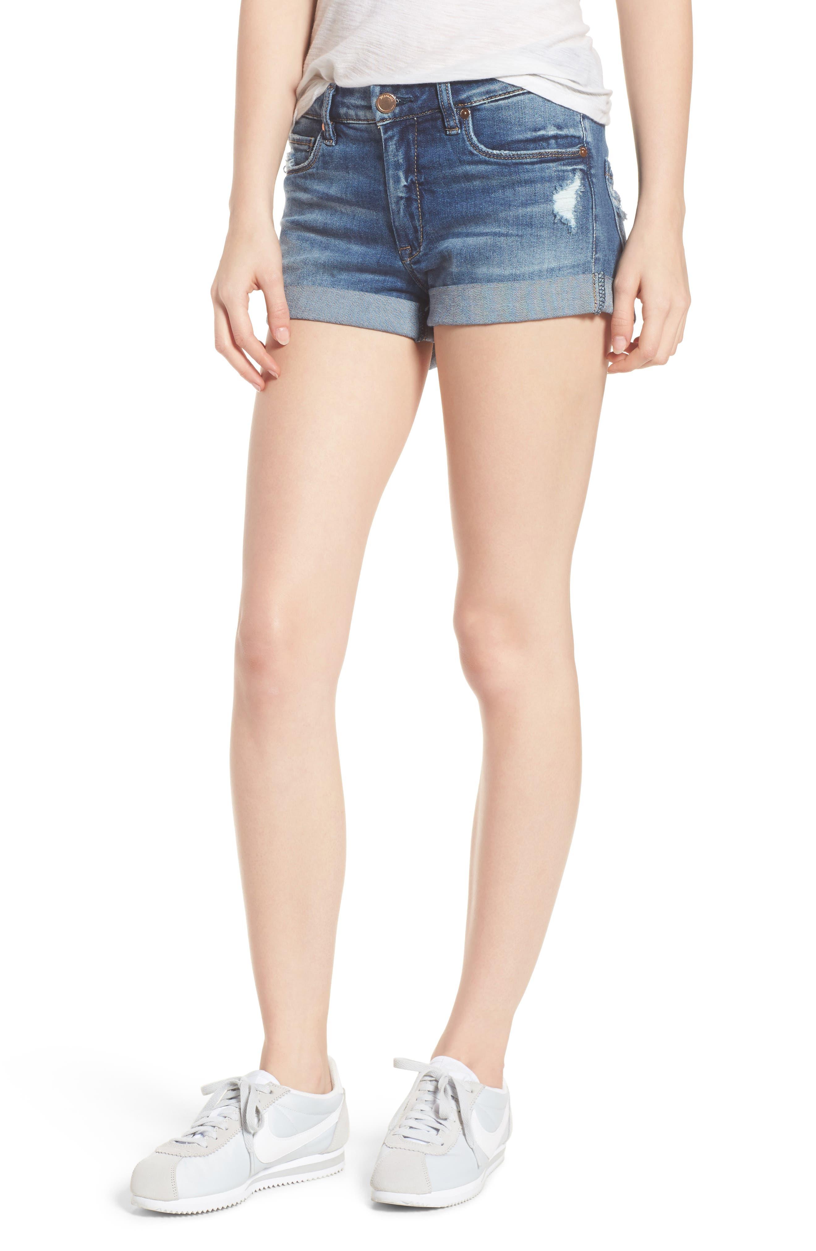 Plalay Hard Cuffed Jean Shorts,                         Main,                         color, Blue