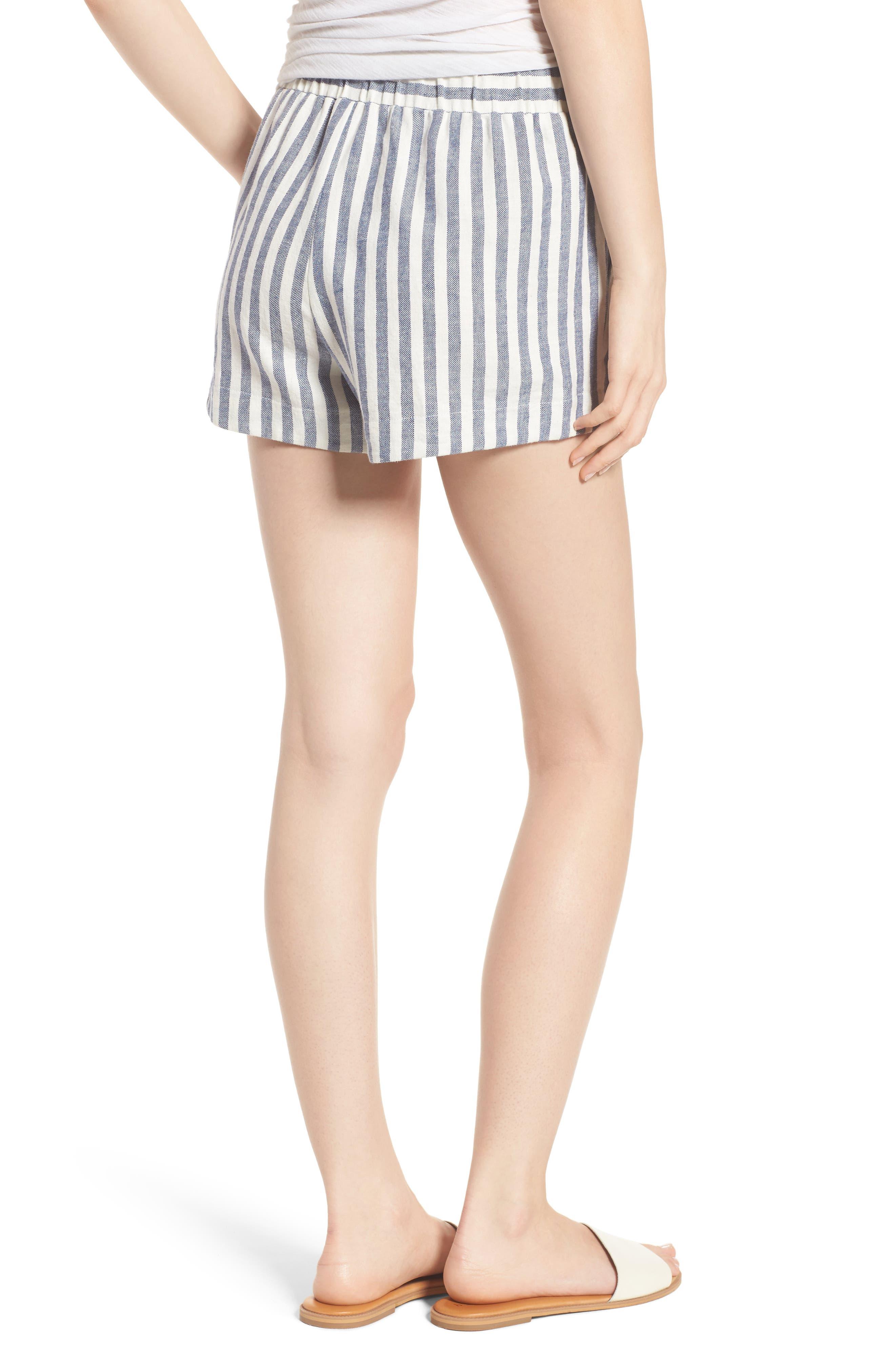 Stripe Linen Blend Shorts,                             Alternate thumbnail 3, color,                             Off White