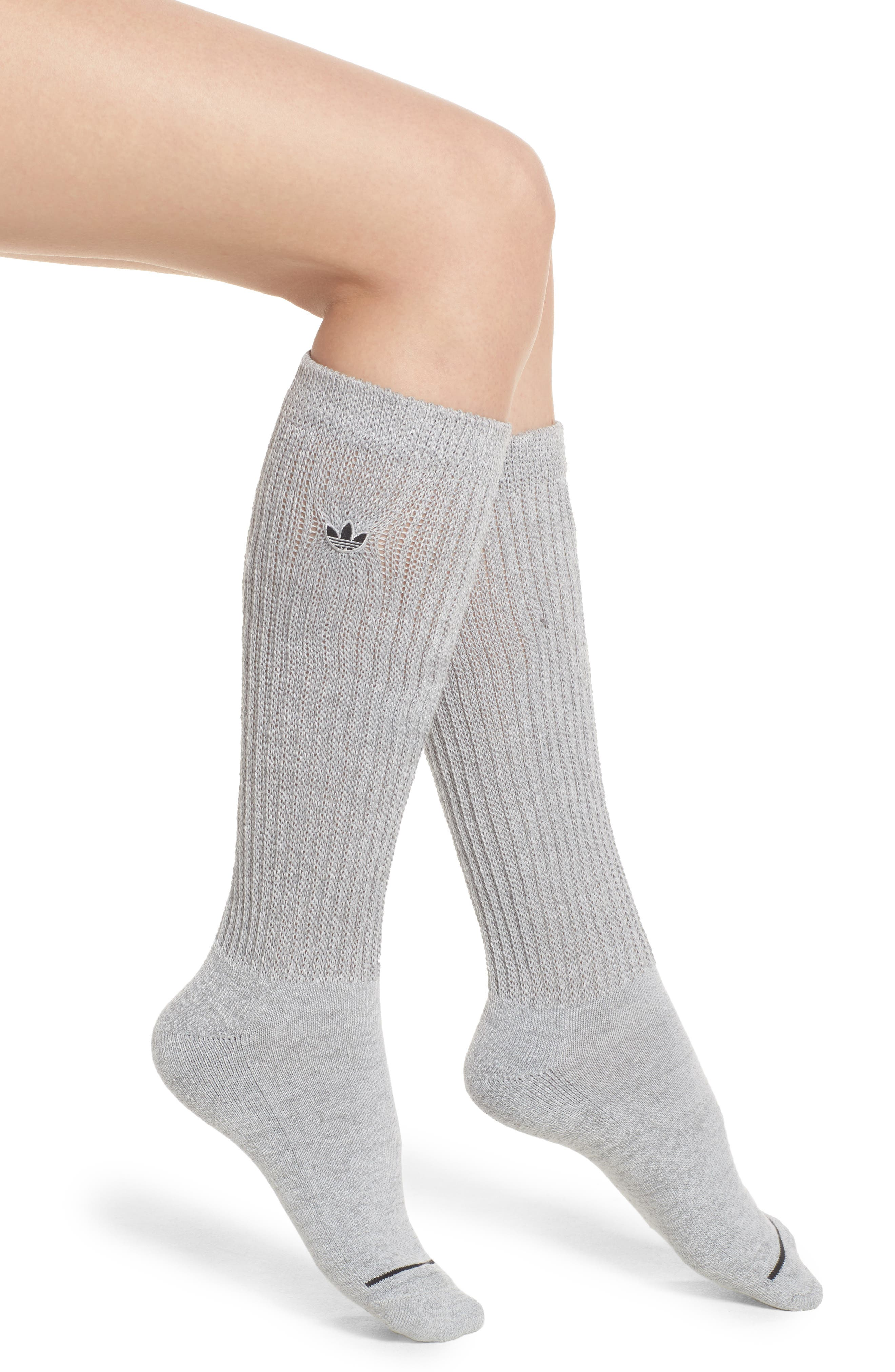 Slouch Crew Socks,                         Main,                         color, Lt Grey