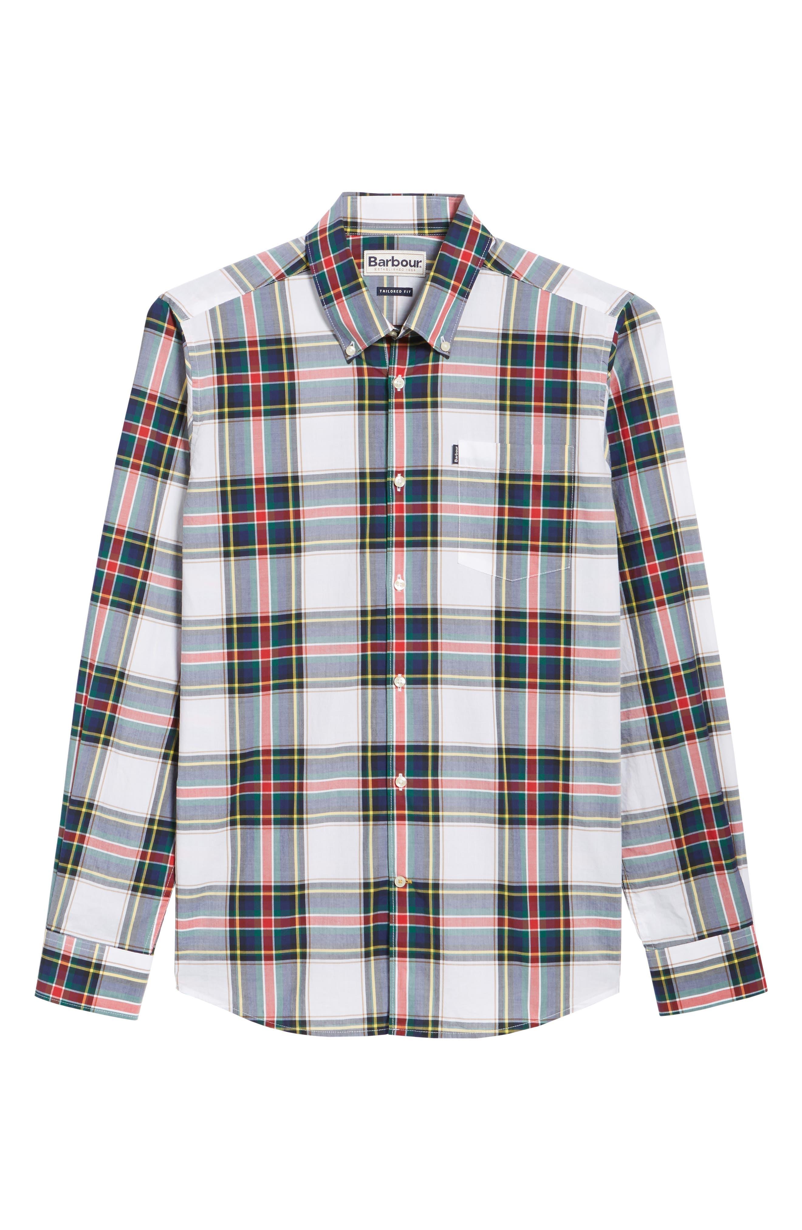 Oscar Trim Fit Plaid Sport Shirt,                             Alternate thumbnail 6, color,                             White