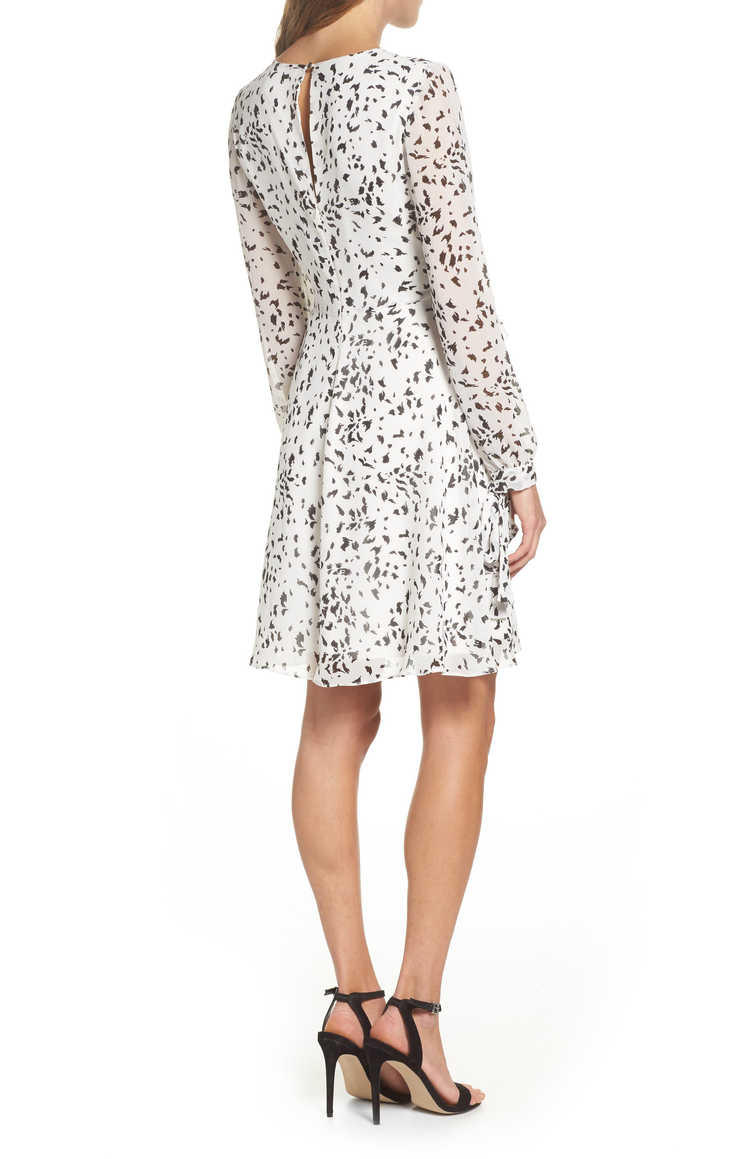 Print Ruffle Dress,                             Alternate thumbnail 2, color,                             White/ Black