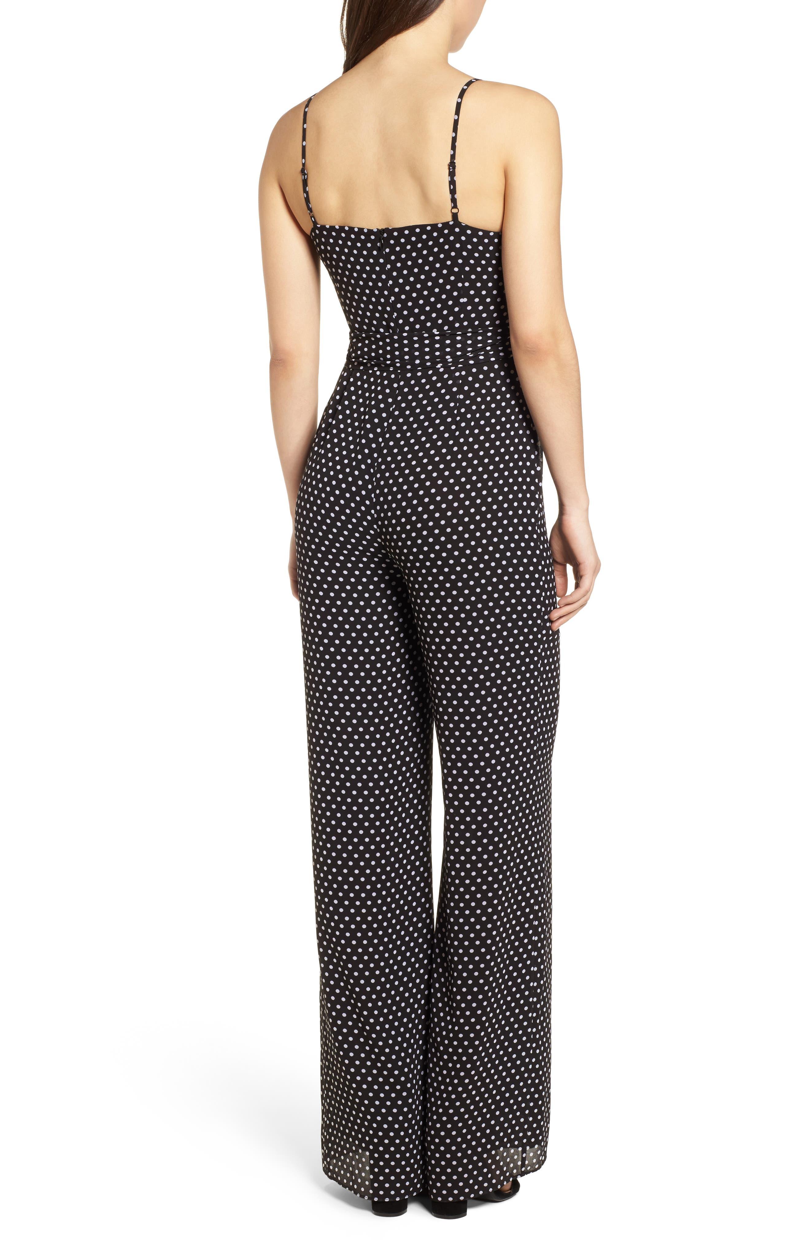 Simple Dot Side Tie Jumpsuit,                             Alternate thumbnail 2, color,                             Black/ White
