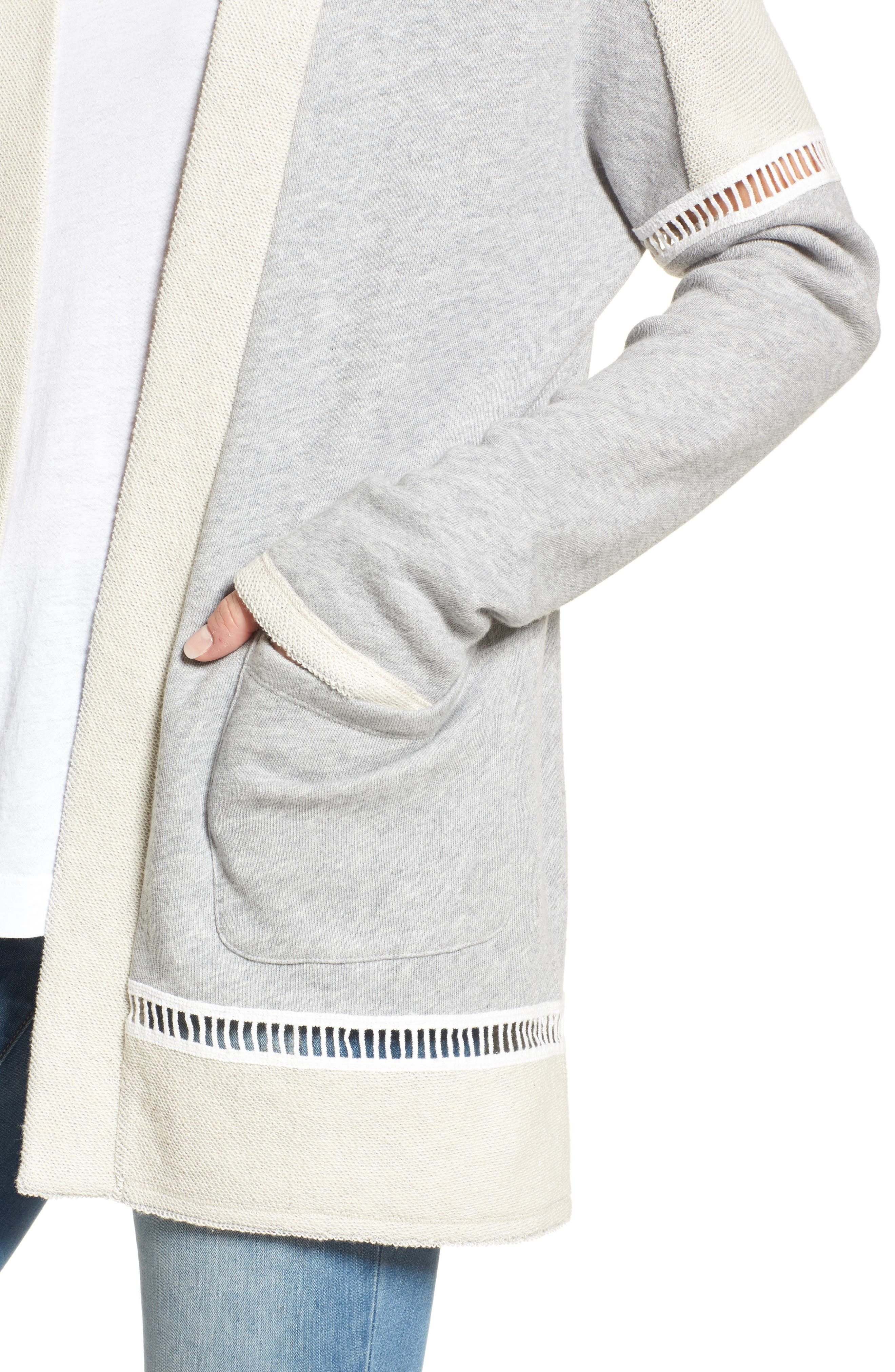 French Terry Open Front Cotton Cardigan,                             Alternate thumbnail 4, color,                             Grey Heather