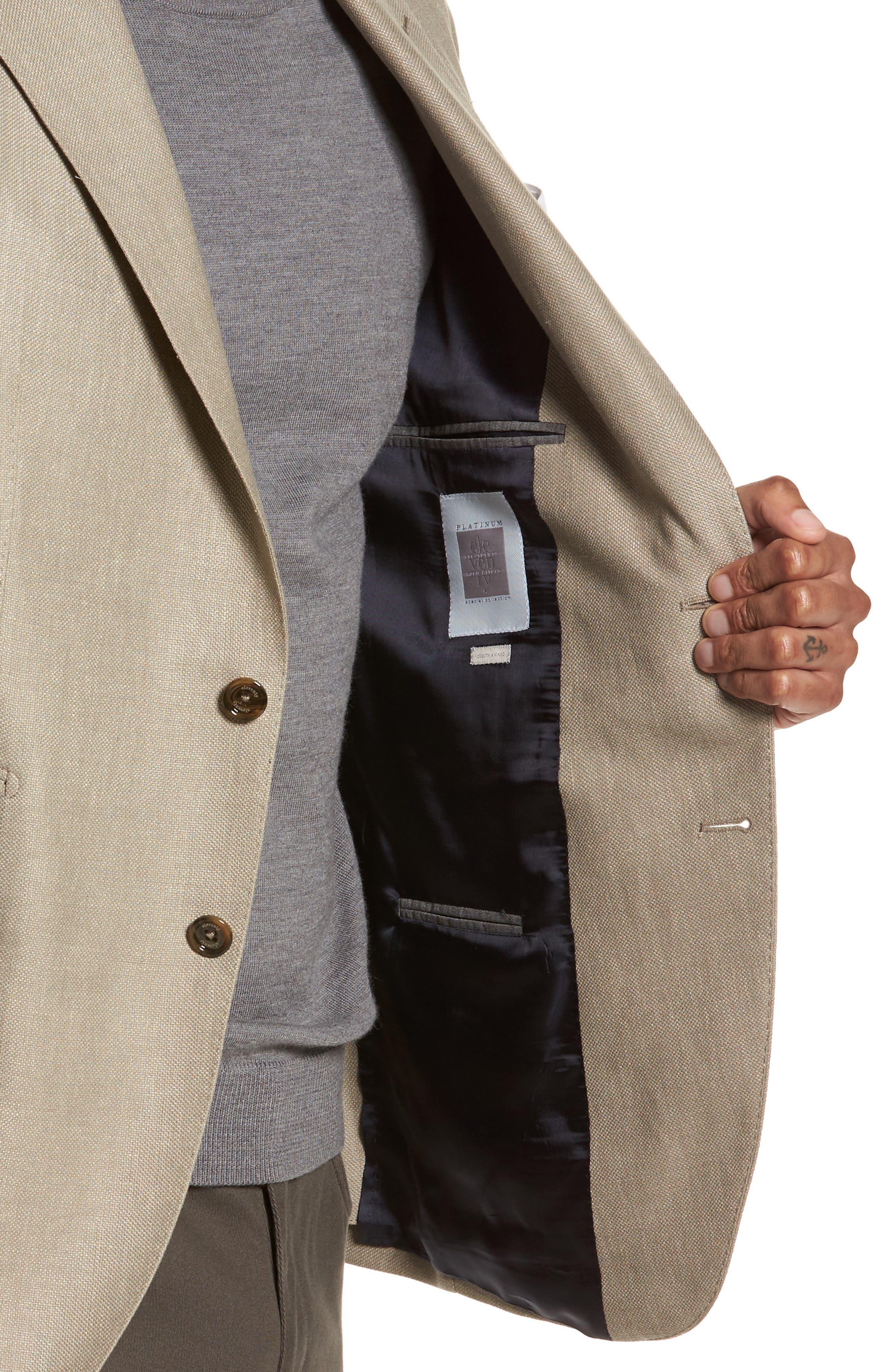 Hopsak Trim Fit Linen Blend Blazer,                             Alternate thumbnail 4, color,                             Taupe