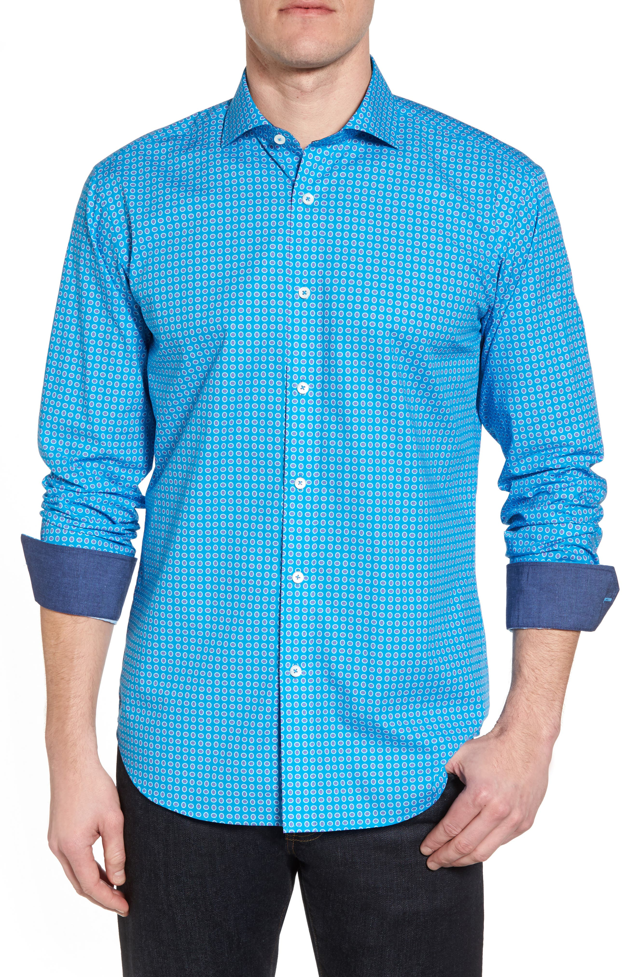 Woven Sport Shirt,                         Main,                         color, Turquoise