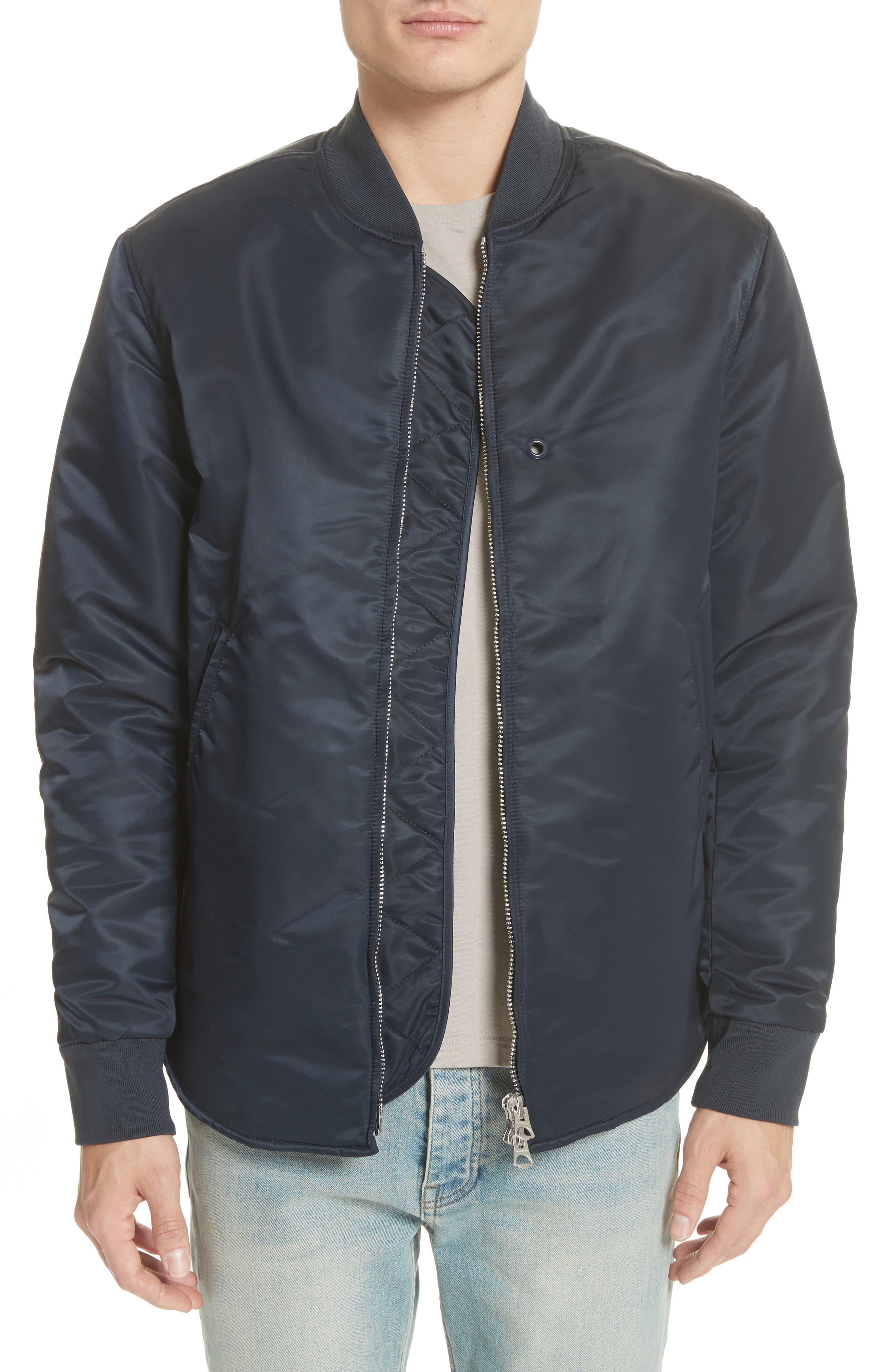 Nylon Bomber Jacket,                             Main thumbnail 1, color,                             Midnight Blue