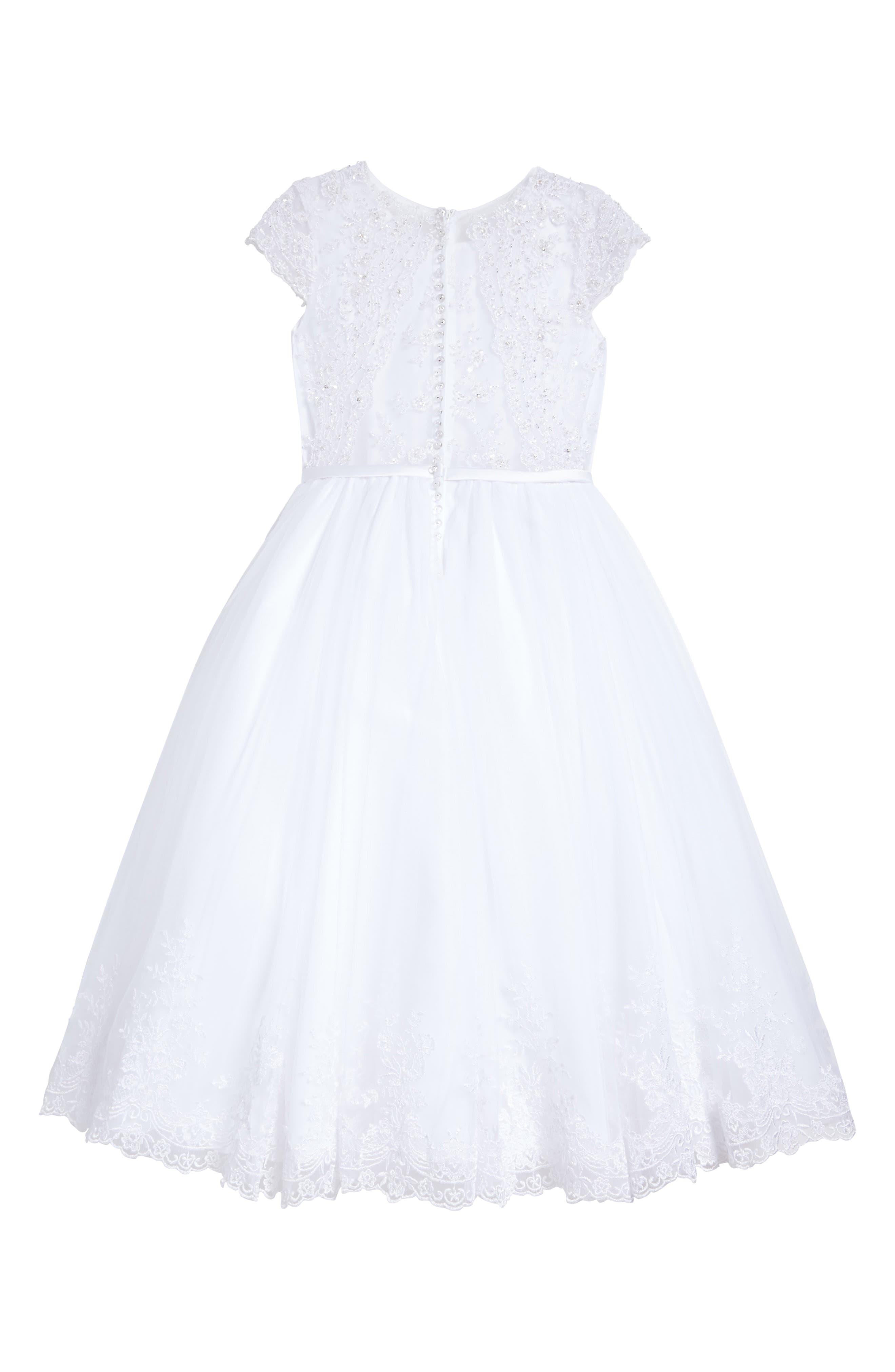 Beaded Satin & Tulle First Communion Dress,                             Alternate thumbnail 2, color,                             White
