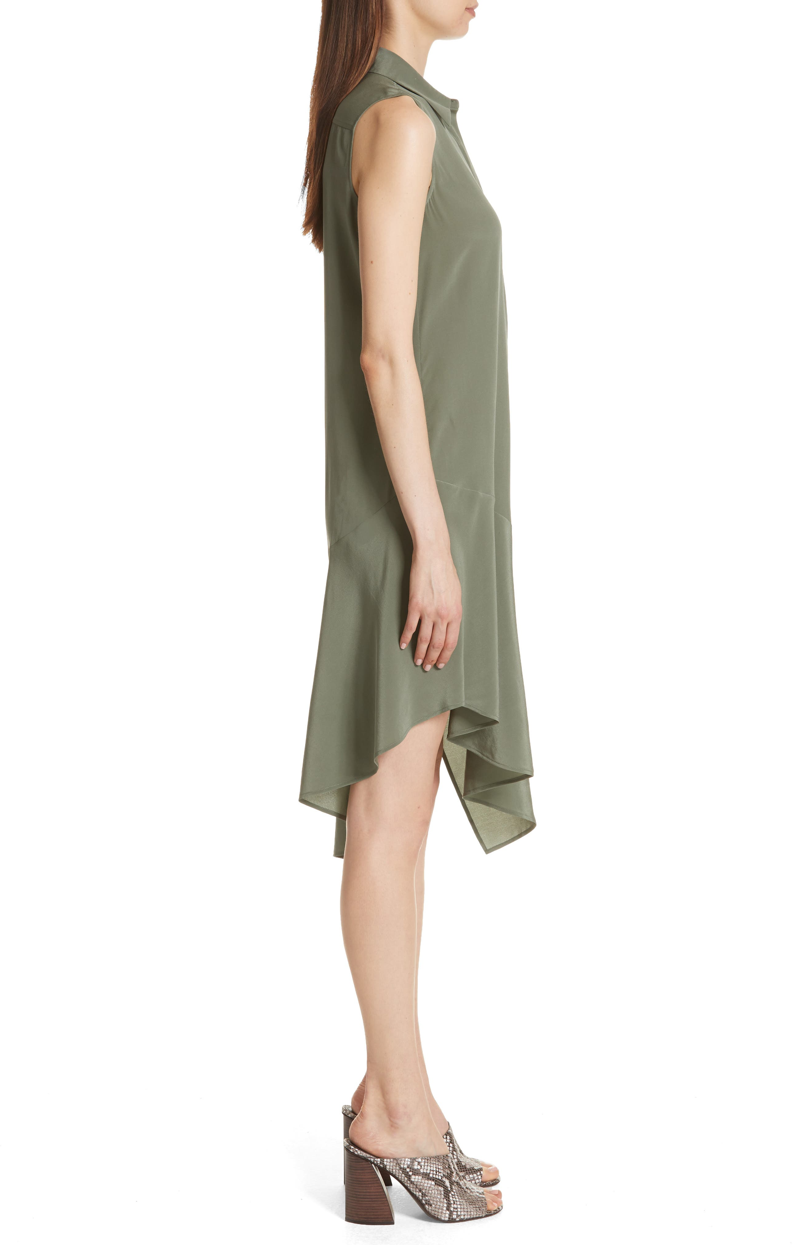 Tira Asymmetrical Hem Silk Shirtdress,                             Alternate thumbnail 3, color,                             Camouflage