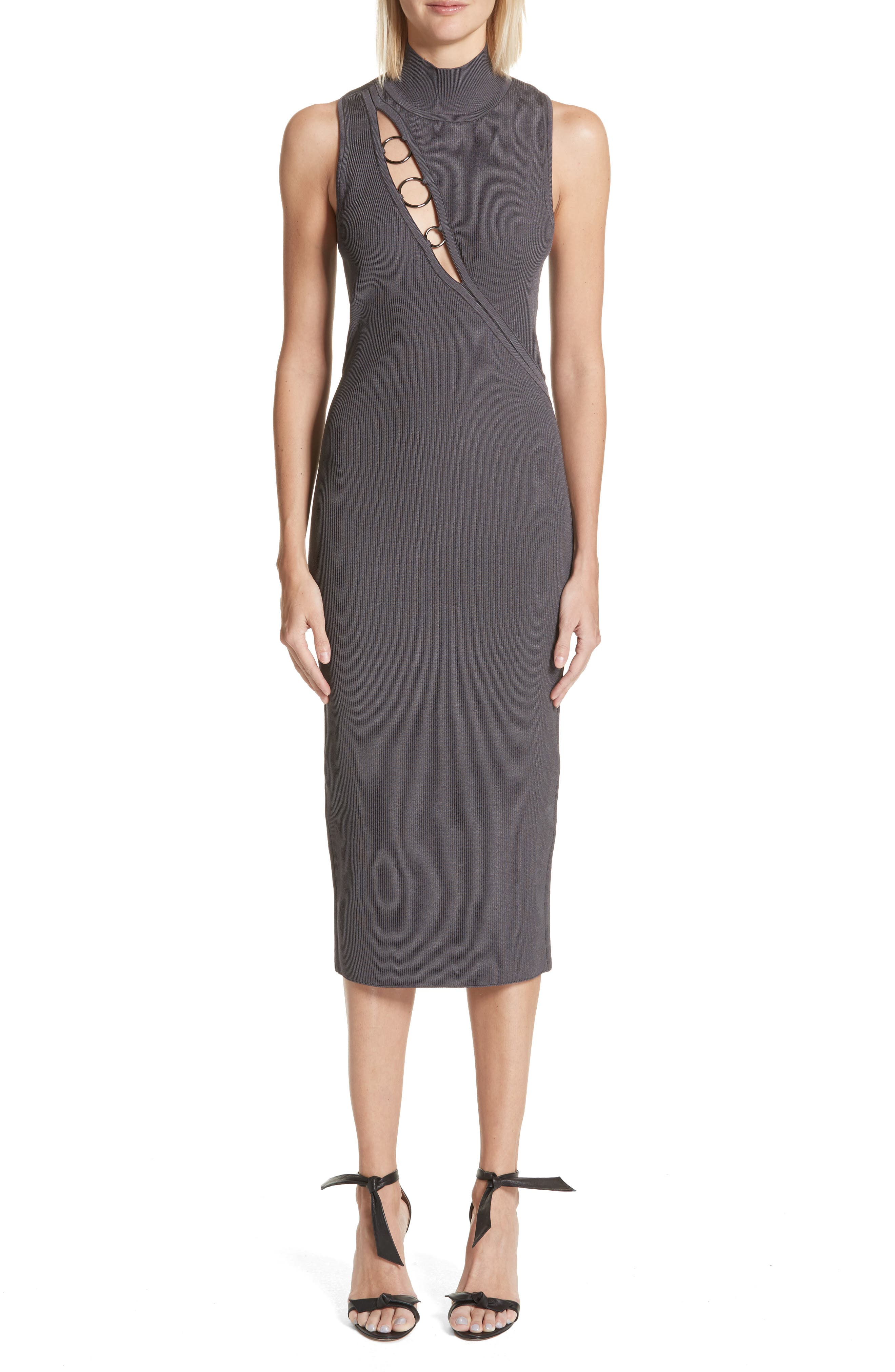 Alsia Cutout Knit Dress,                             Main thumbnail 1, color,                             Graphite/ Gunmetal