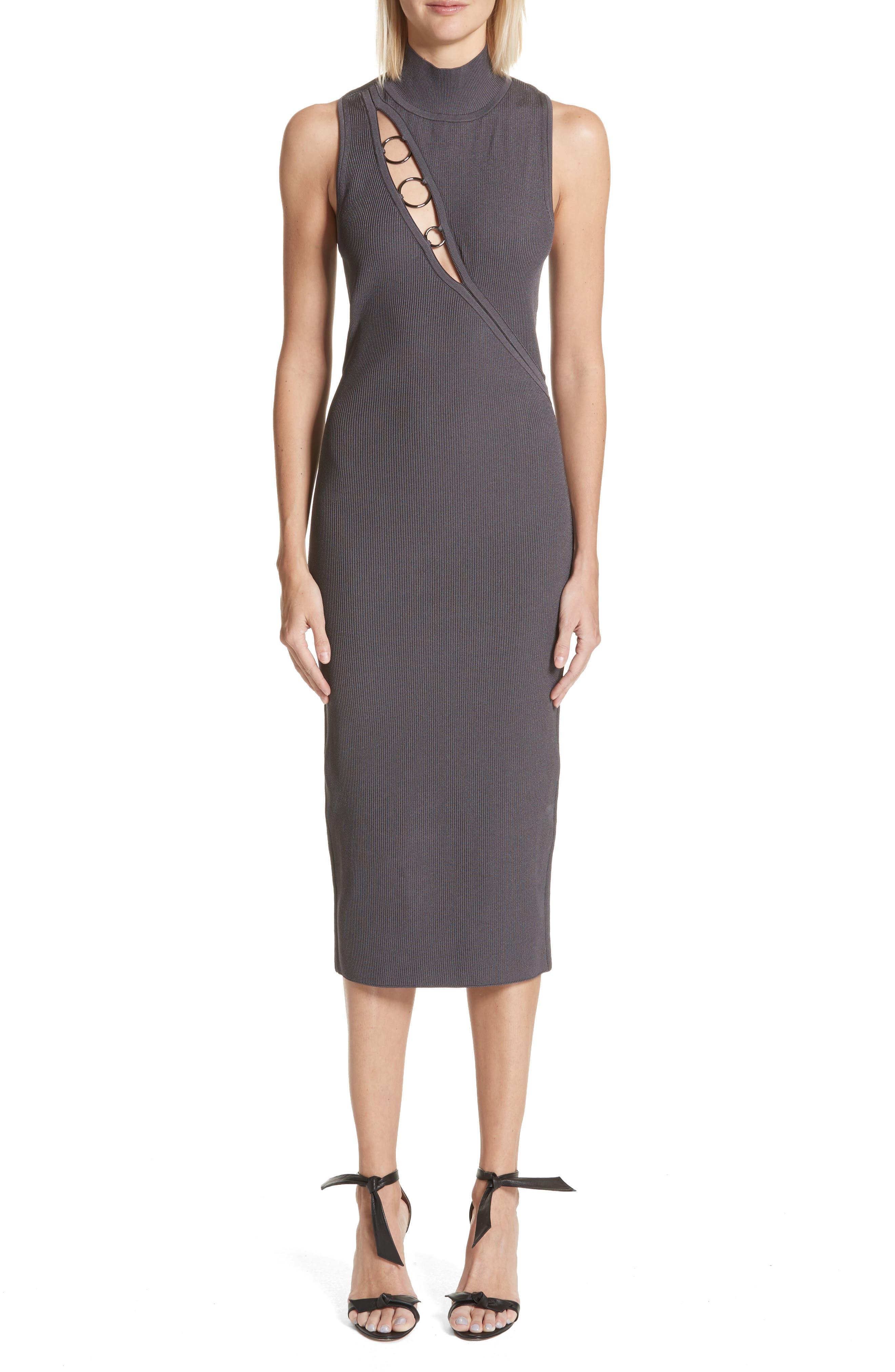 Alsia Cutout Knit Dress,                         Main,                         color, Graphite/ Gunmetal