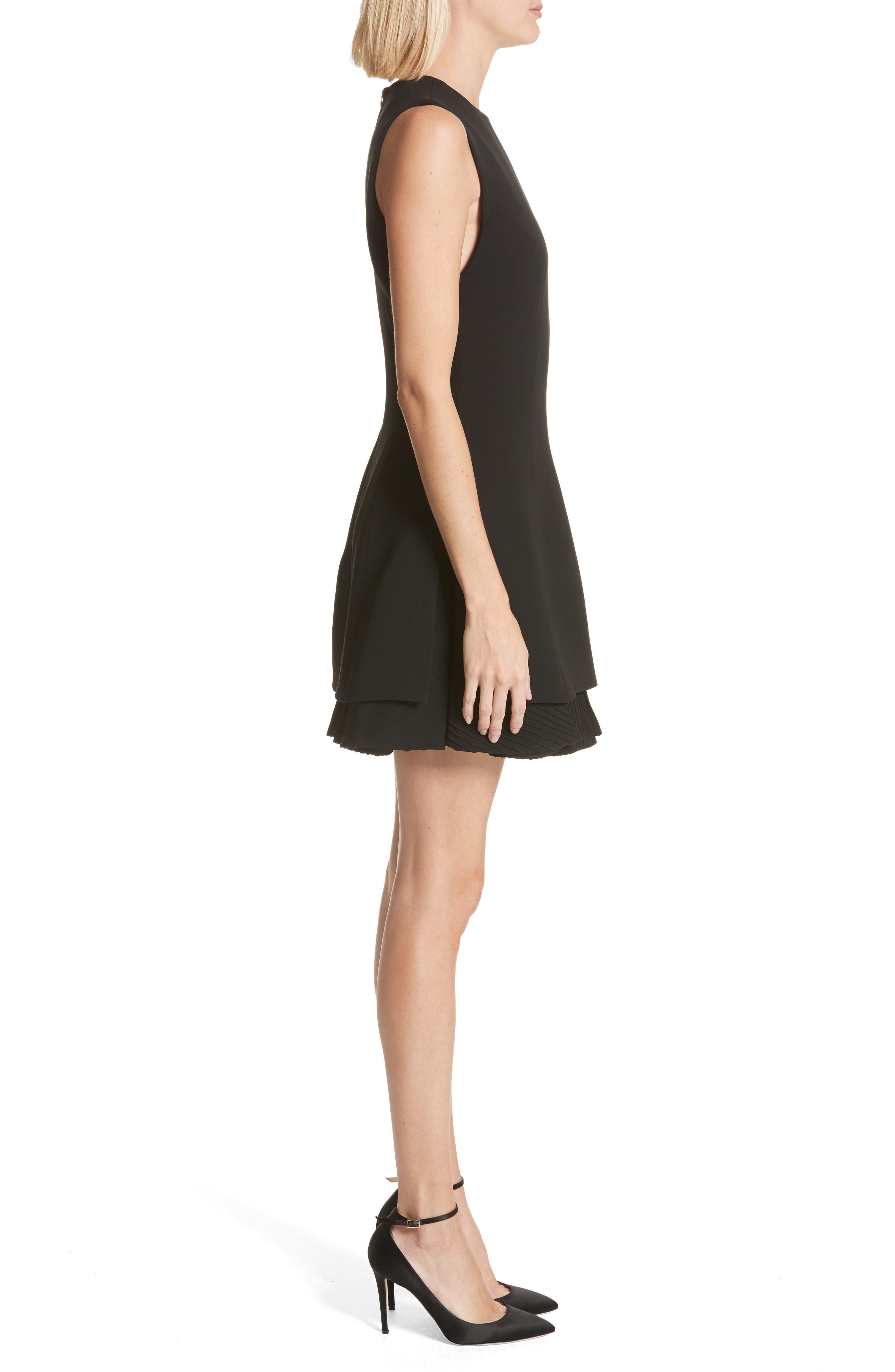 Alternate Image 3  - Brandon Maxwell Pleated Hem Fit & Flare Dress
