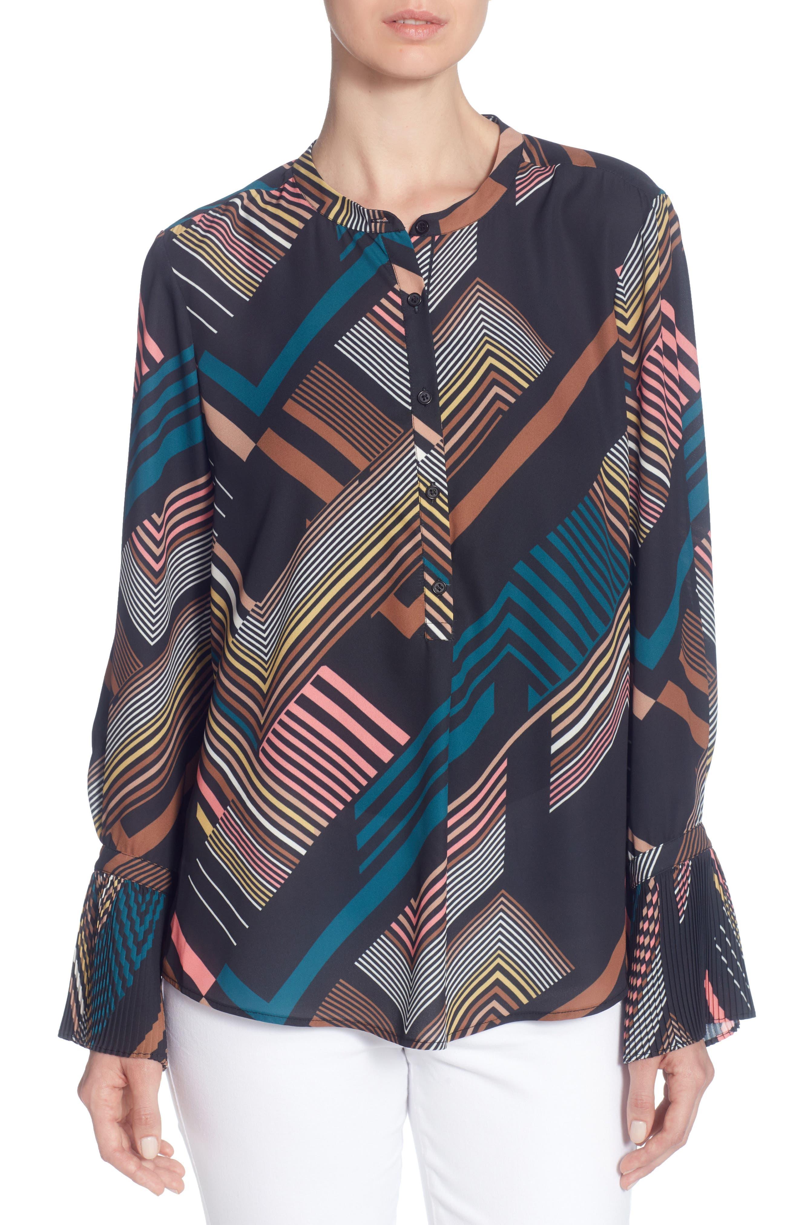 Juno Print Blouse,                         Main,                         color, Deco Stripe