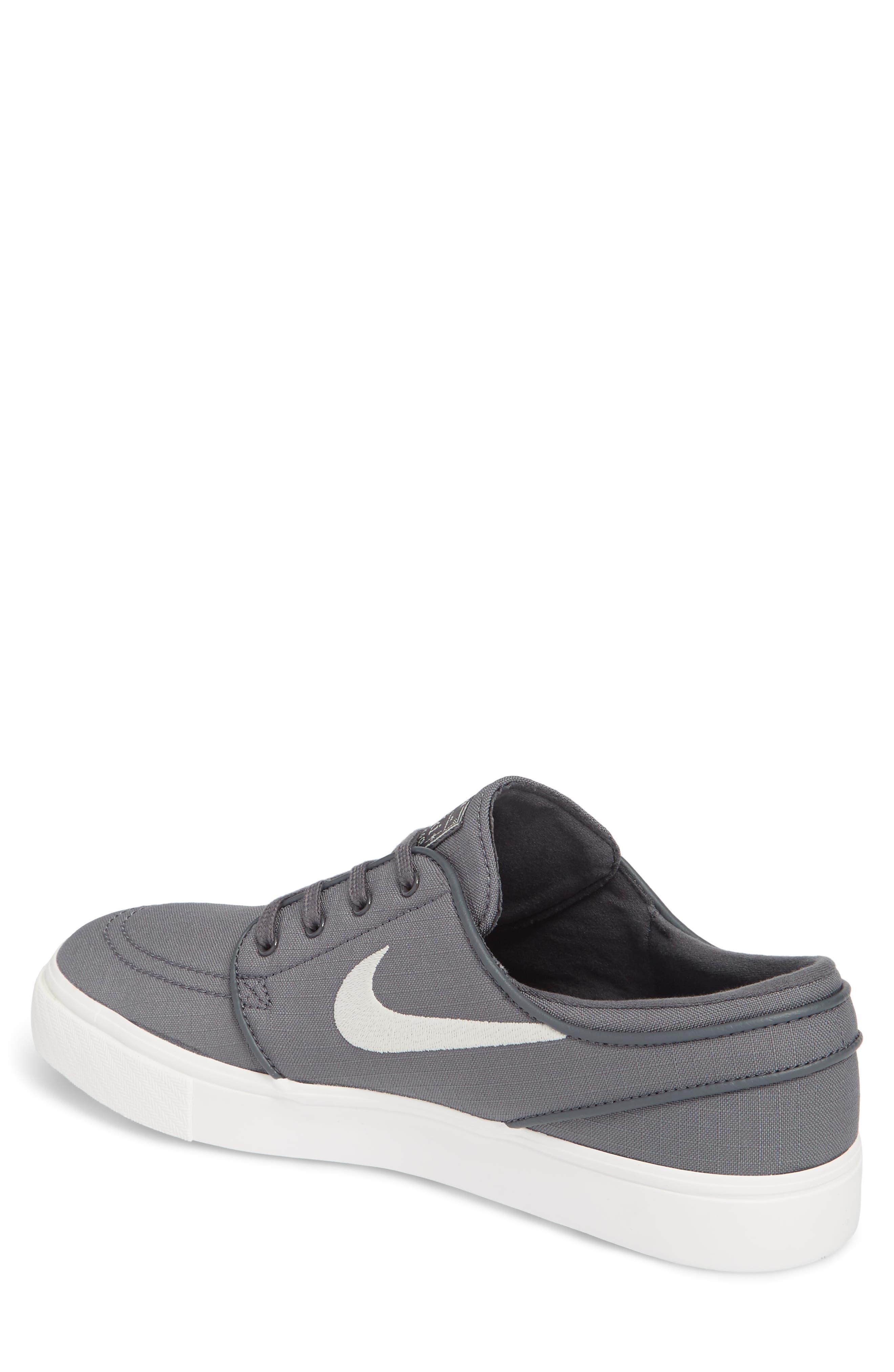 'Zoom - Stefan Janoski SB' Canvas Skate Shoe,                             Alternate thumbnail 2, color,                             Dark Grey/ Bone/ White/ Black