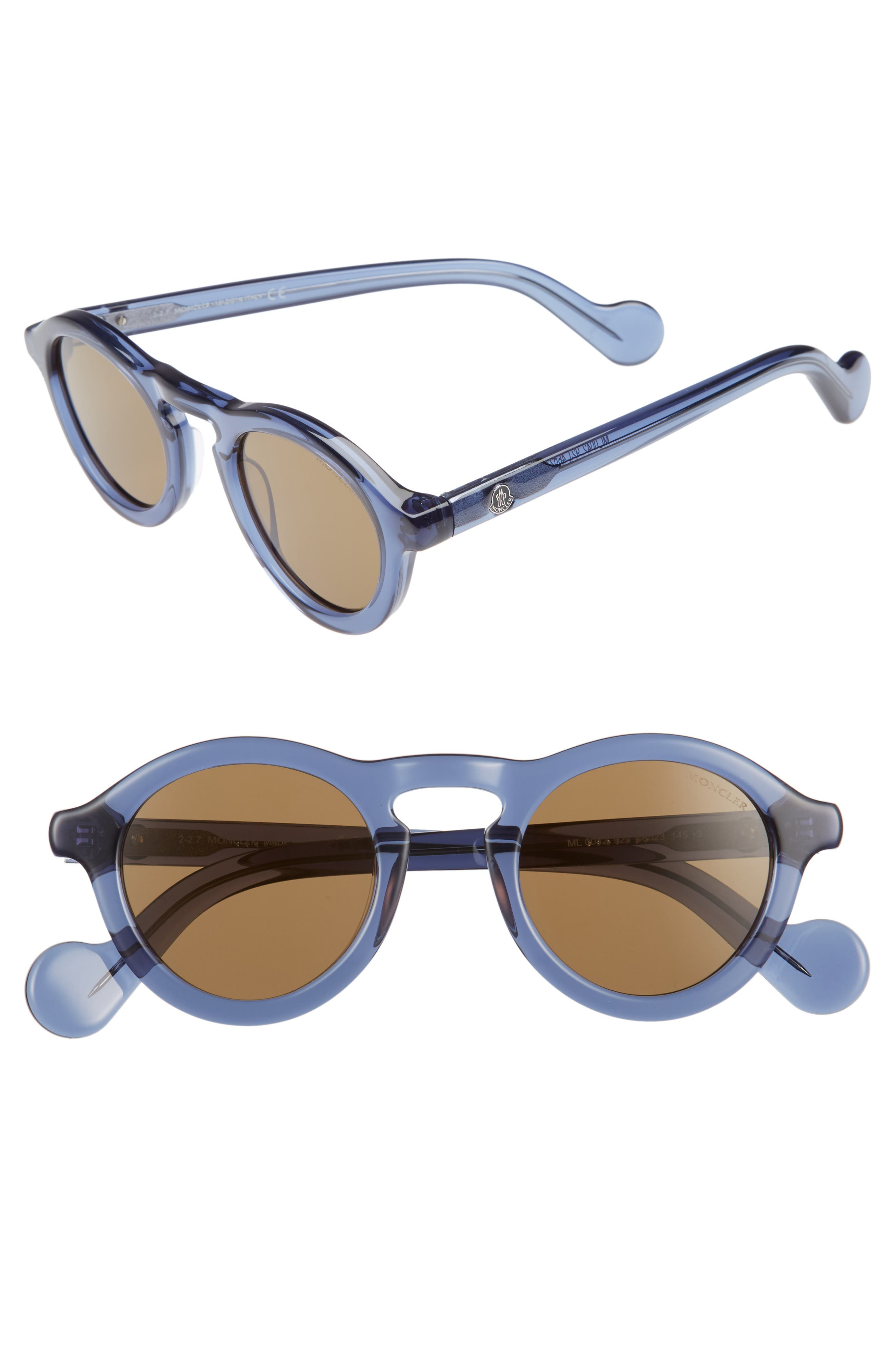 Moncler 46mm Round Sunglasses