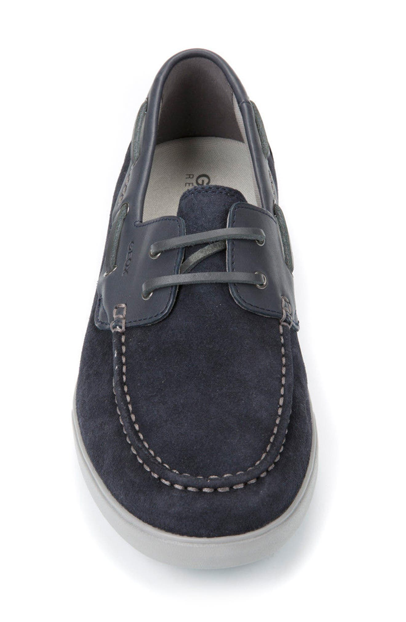Walee 2 Boat Shoe,                             Alternate thumbnail 4, color,                             Navy Suede/ Leather