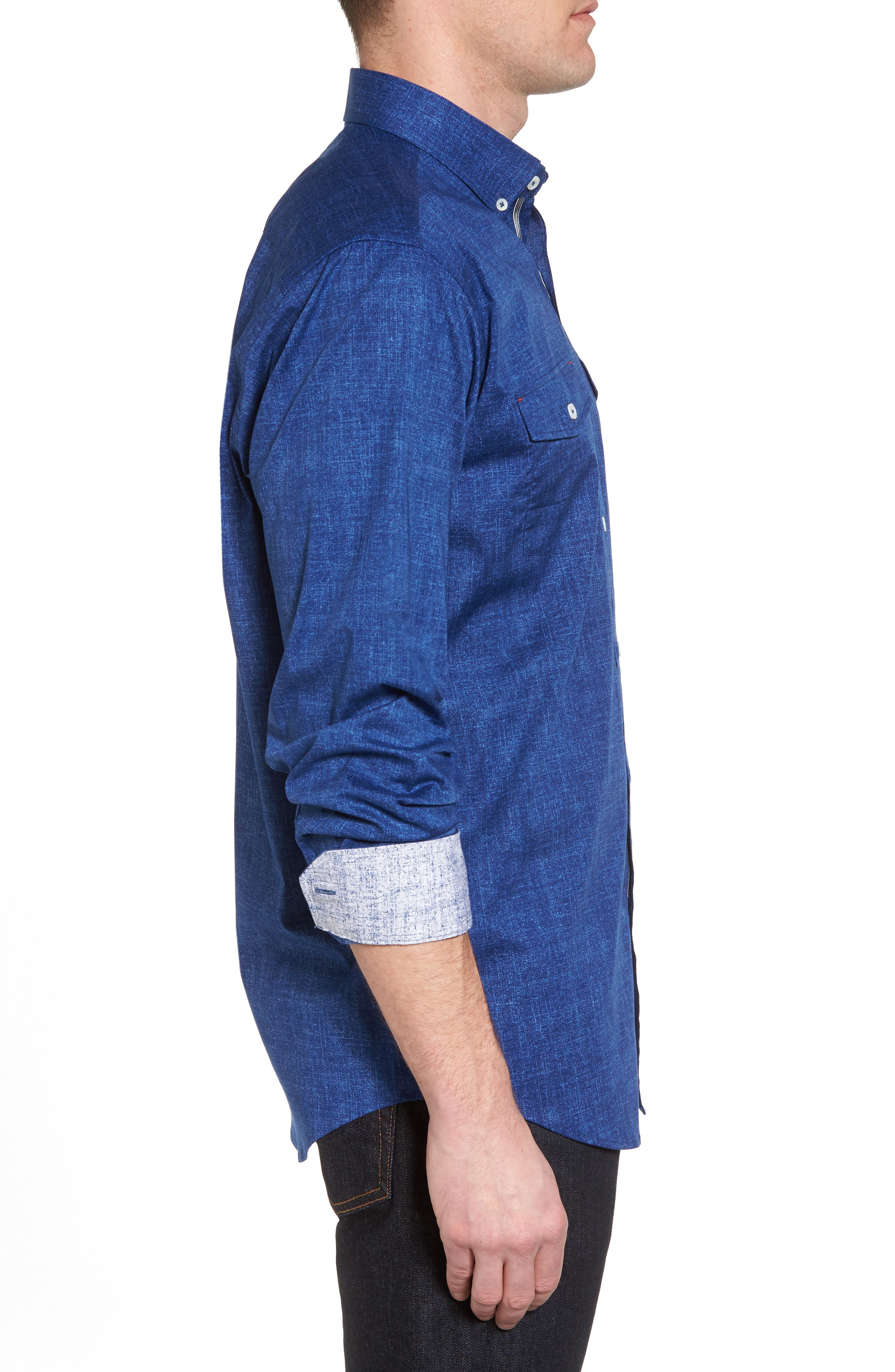 Chambray Print Classic Fit Sport Shirt,                             Alternate thumbnail 3, color,                             Navy