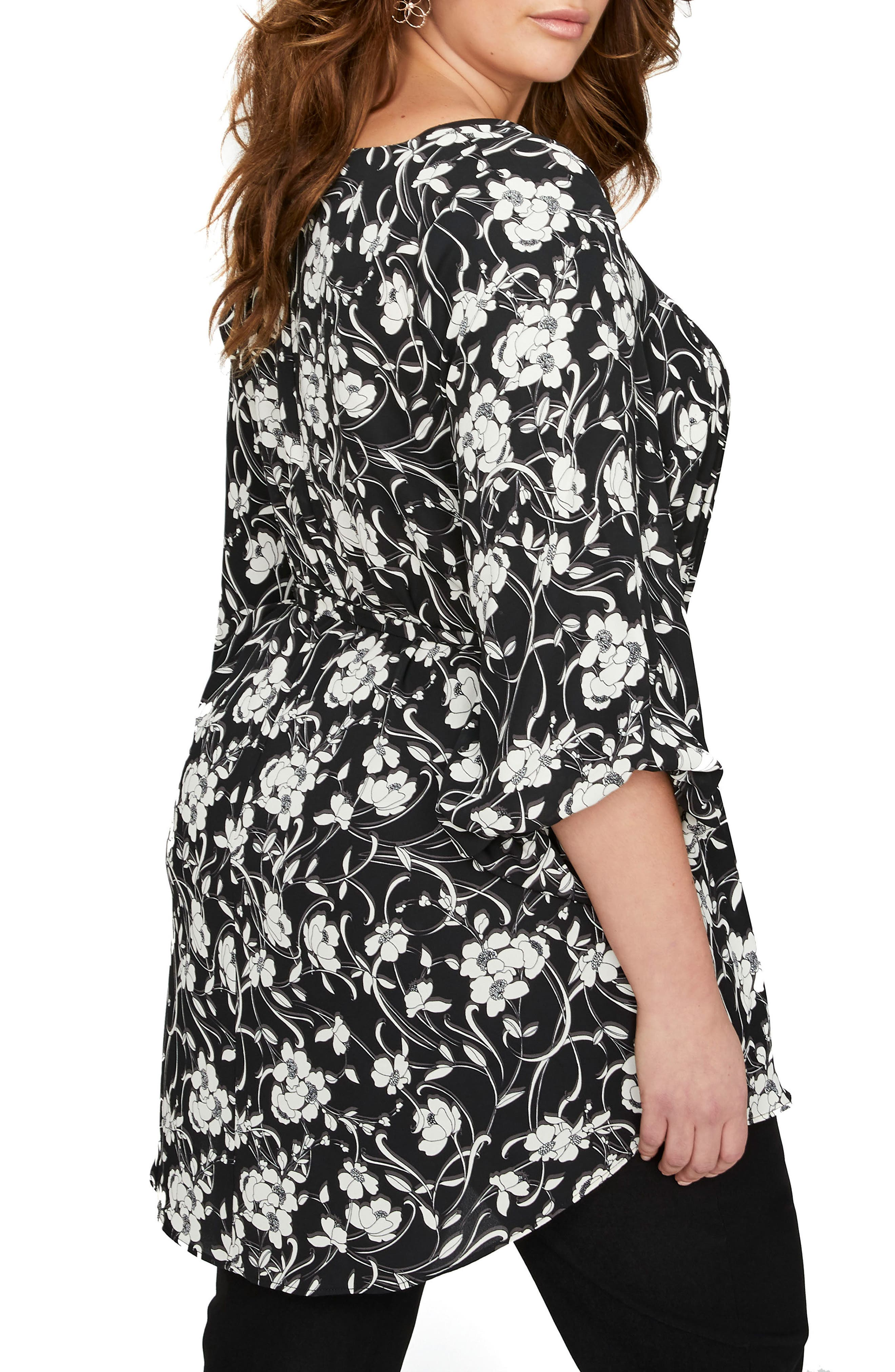 Balloon Sleeve Tunic,                             Alternate thumbnail 2, color,                             Floral Shadow Black Combo