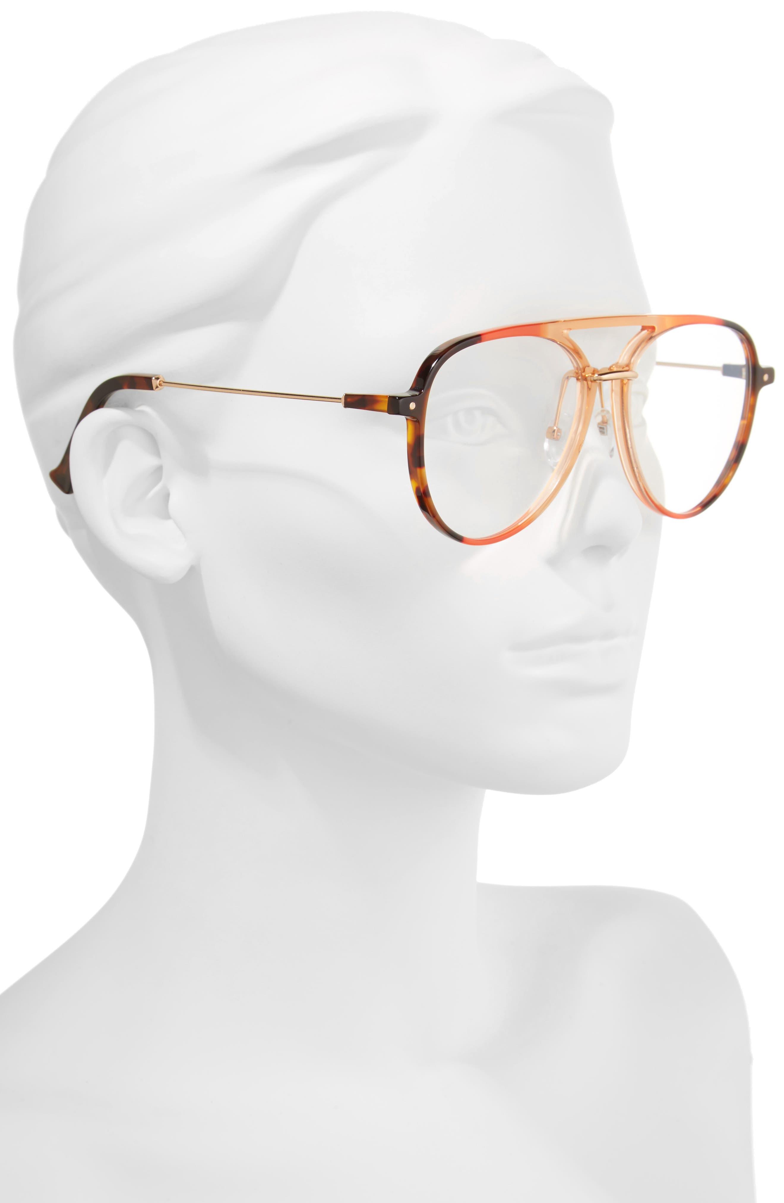 Praph 57mm Aviator Glasses,                             Alternate thumbnail 2, color,                             Clear/Amber Tort Hardware