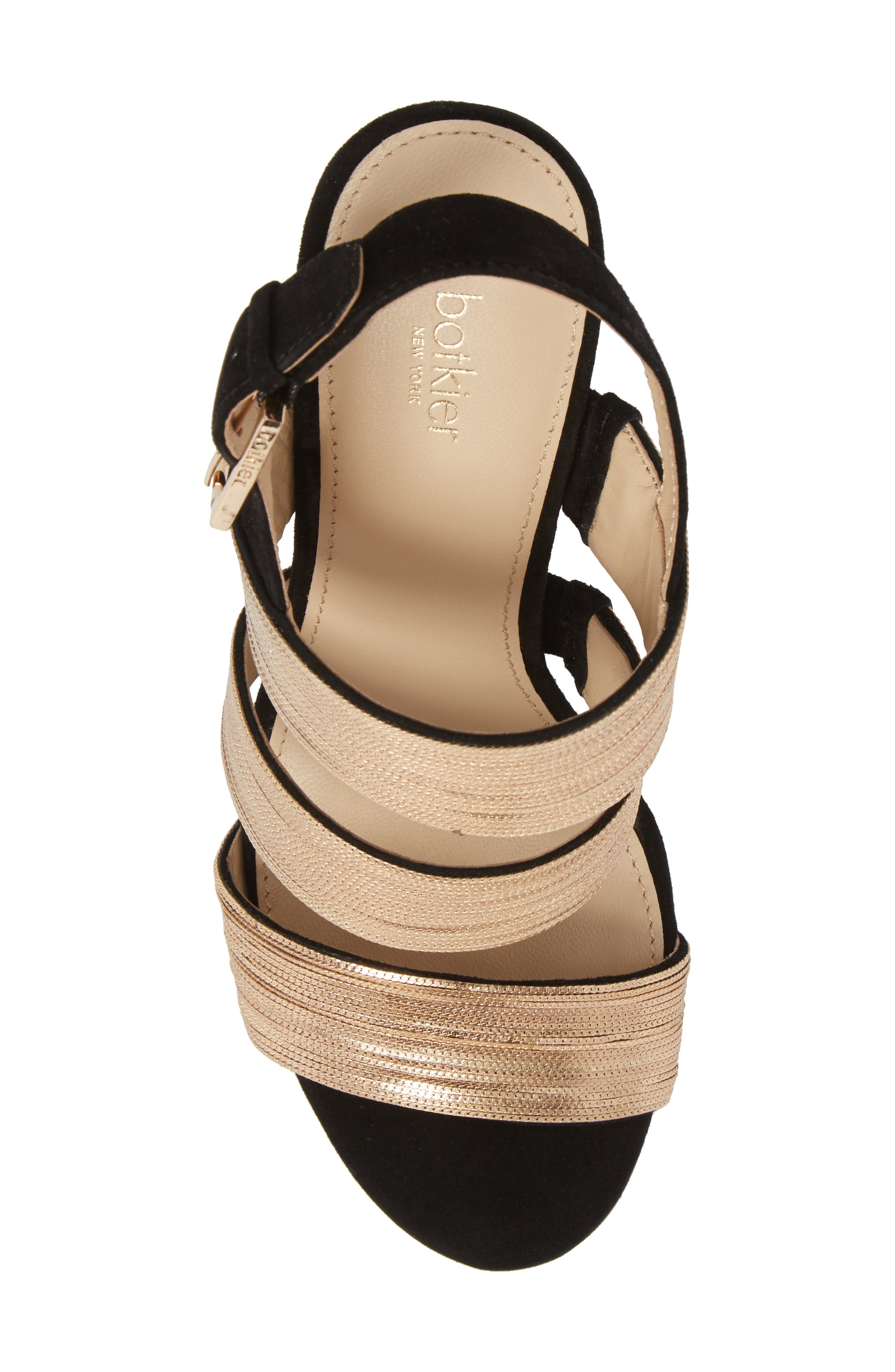 Genesa Chain Slingback Sandal,                             Alternate thumbnail 5, color,                             Black/ Gold Suede
