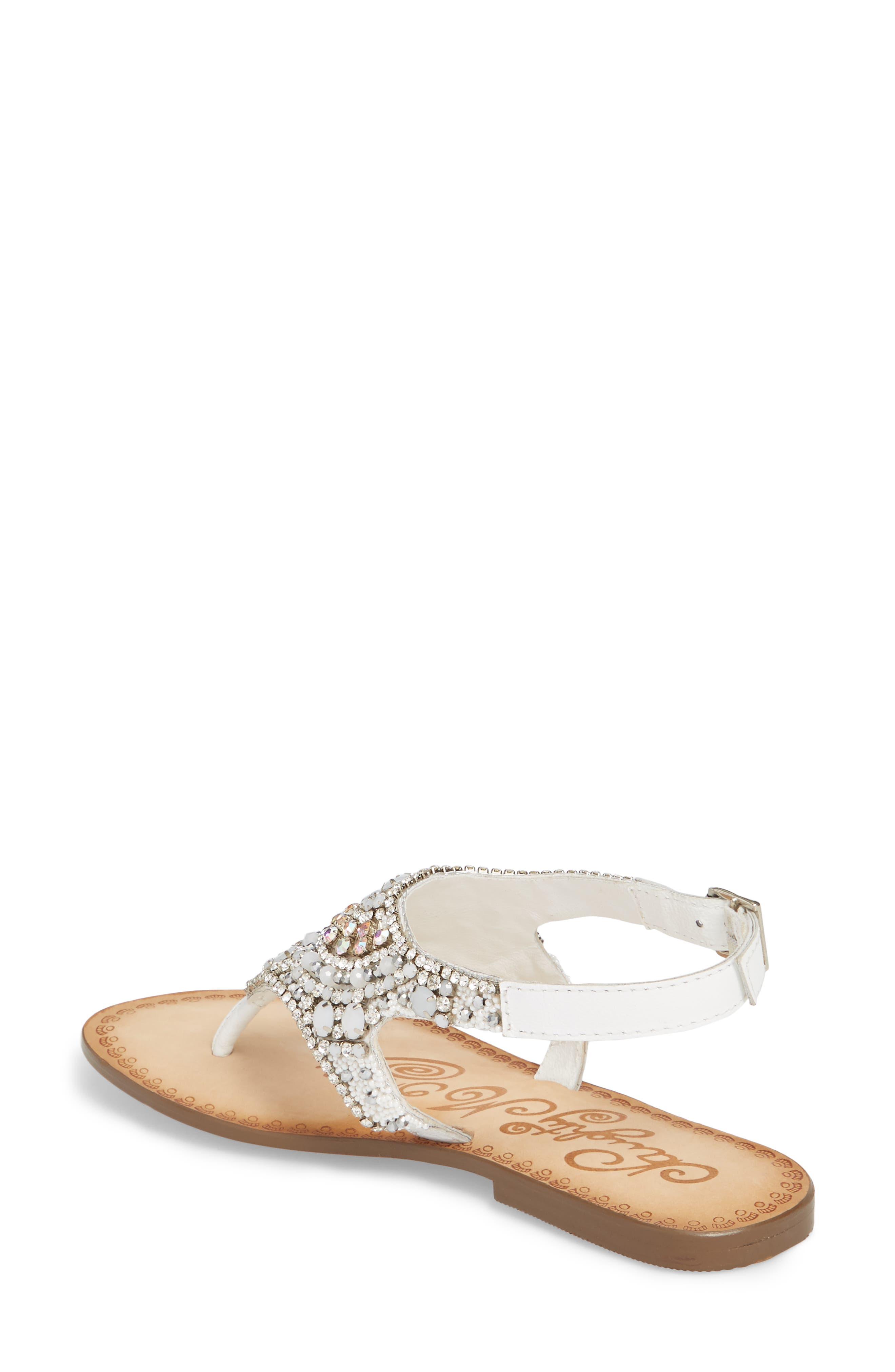 Iceberg Crystal Embellished Sandal,                             Alternate thumbnail 2, color,                             White Leather