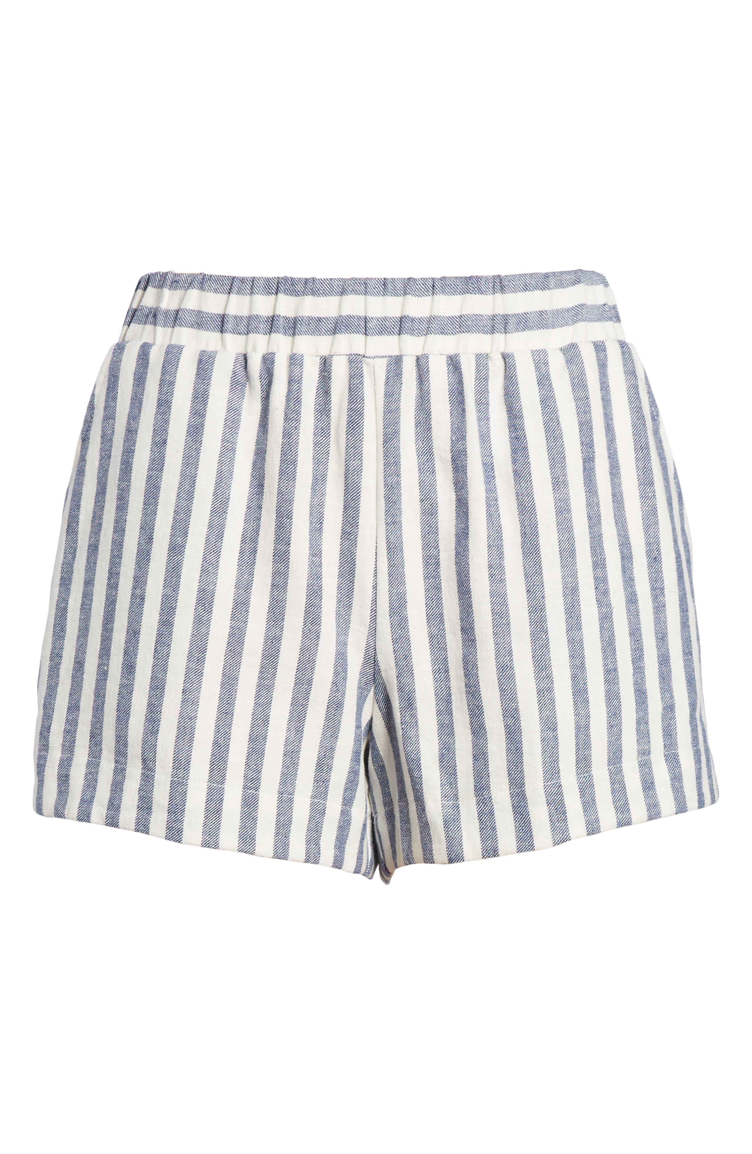 Stripe Linen Blend Shorts,                             Alternate thumbnail 7, color,                             Off White