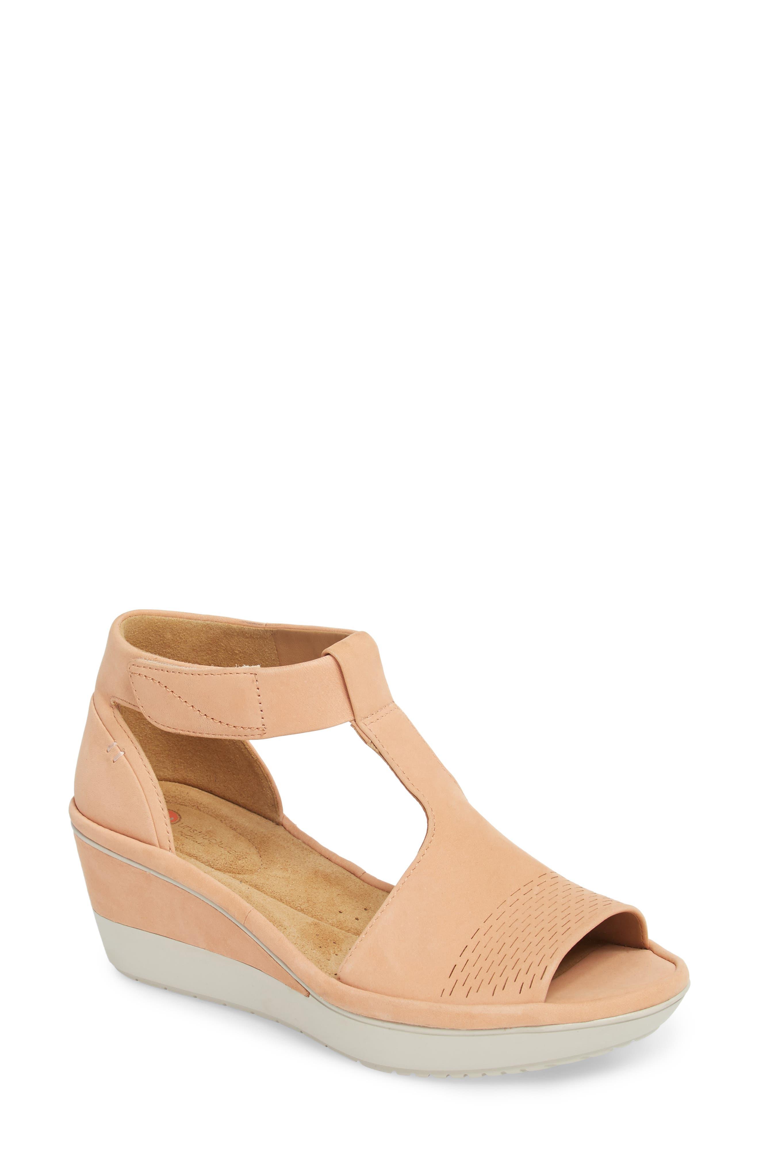 Wynnmere Avah T-Strap Wedge Sandal,                             Main thumbnail 1, color,                             Peach Nubuck